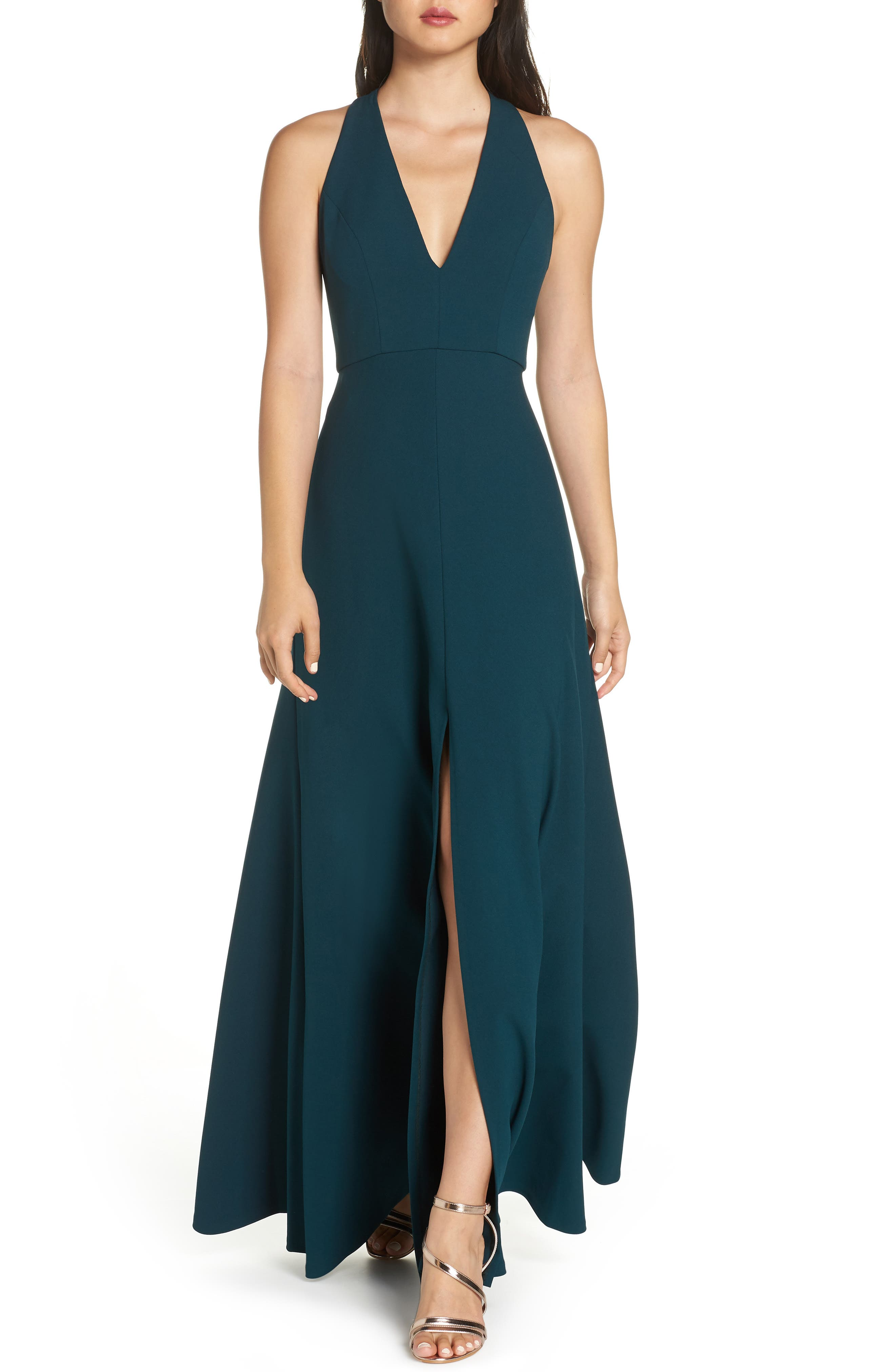 Jenny Yoo Margot V-Neck Knit Crepe Gown, Blue/green