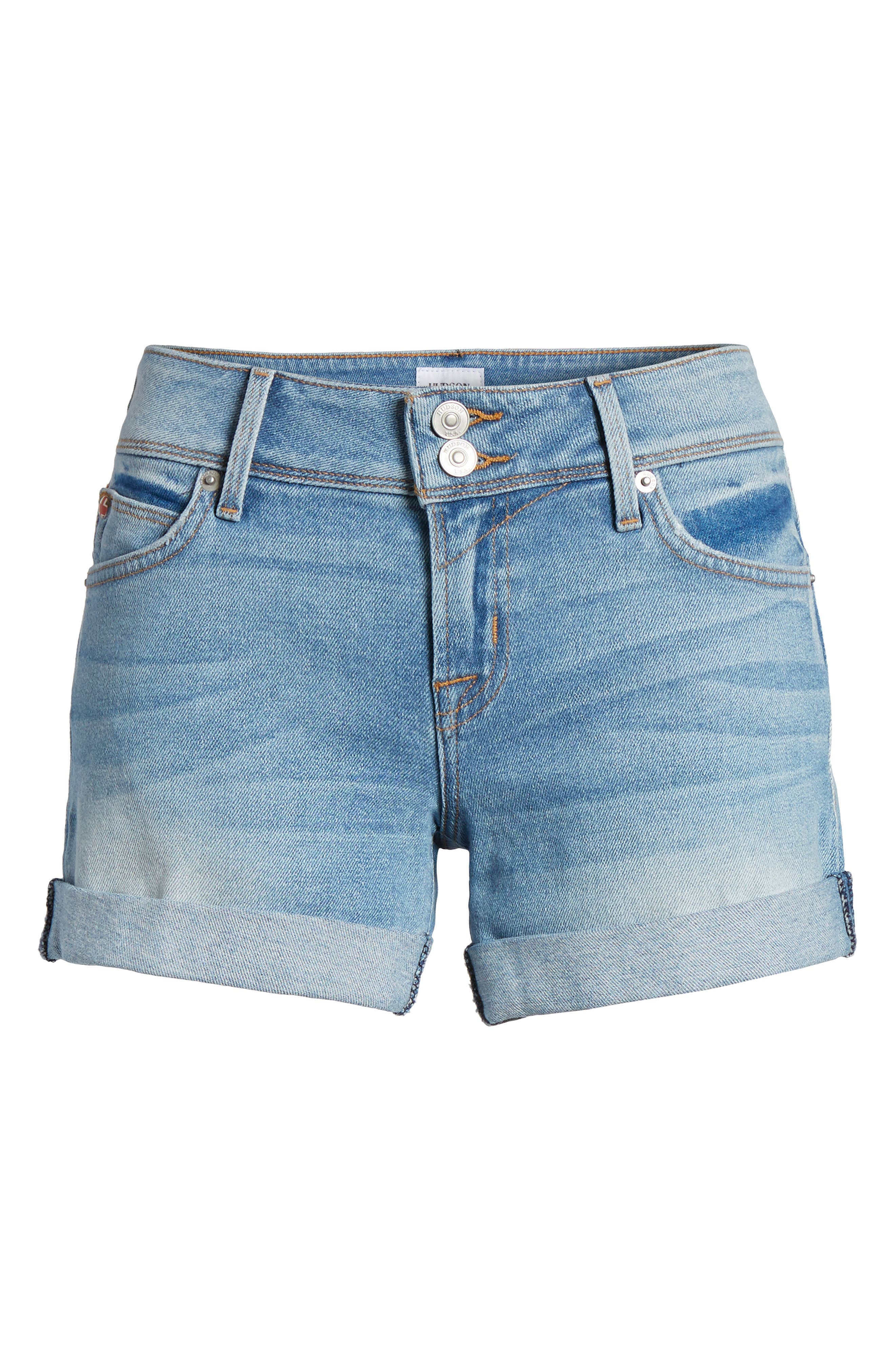Croxley Cuff Denim Shorts,                             Alternate thumbnail 6, color,                             ROLLING HILLS