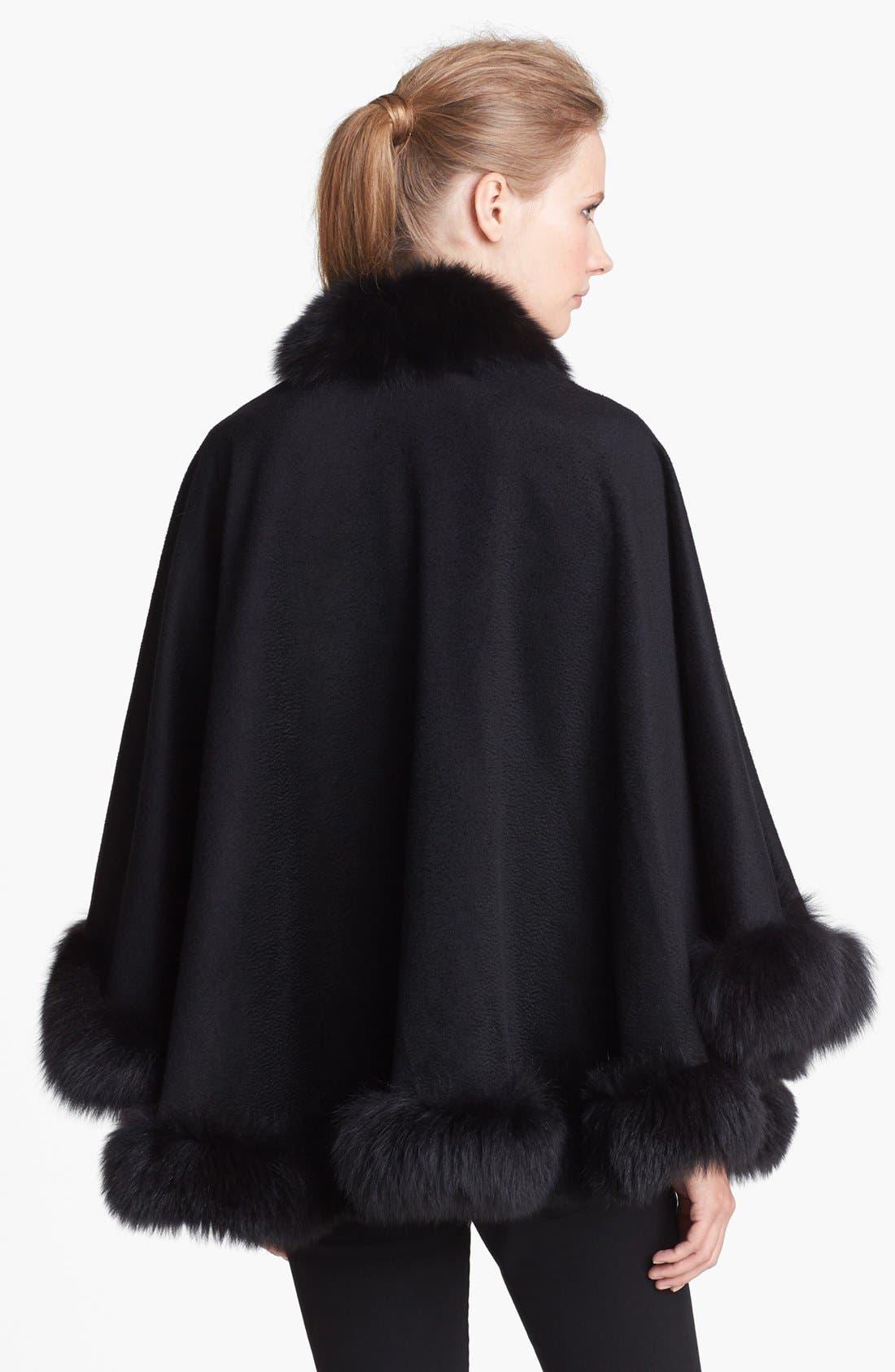Genuine Fox Fur Trim Short Cashmere Cape,                             Alternate thumbnail 6, color,