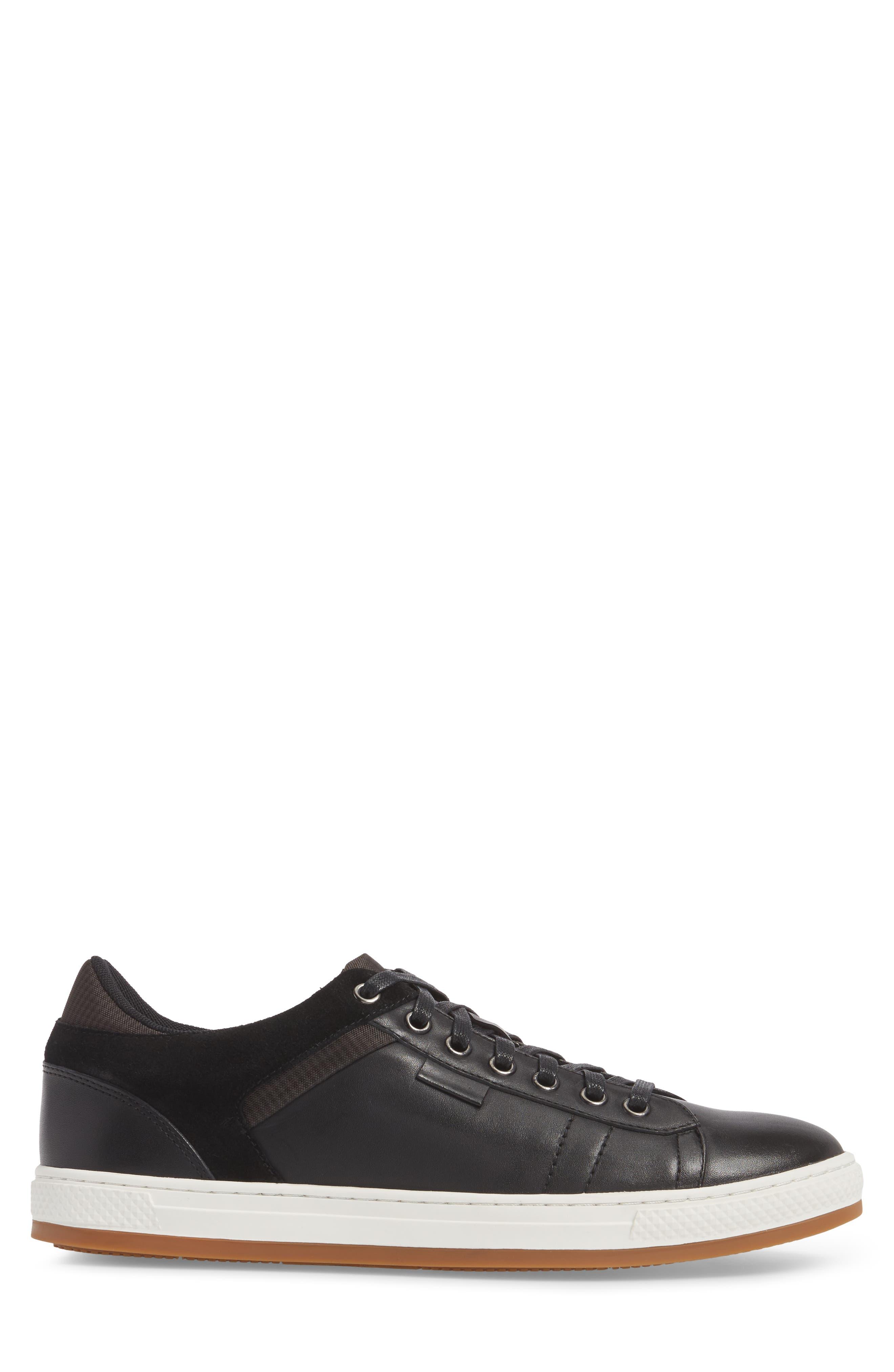 Ireton Low Top Sneaker,                             Alternate thumbnail 3, color,                             BLACK LEATHER/ SUEDE