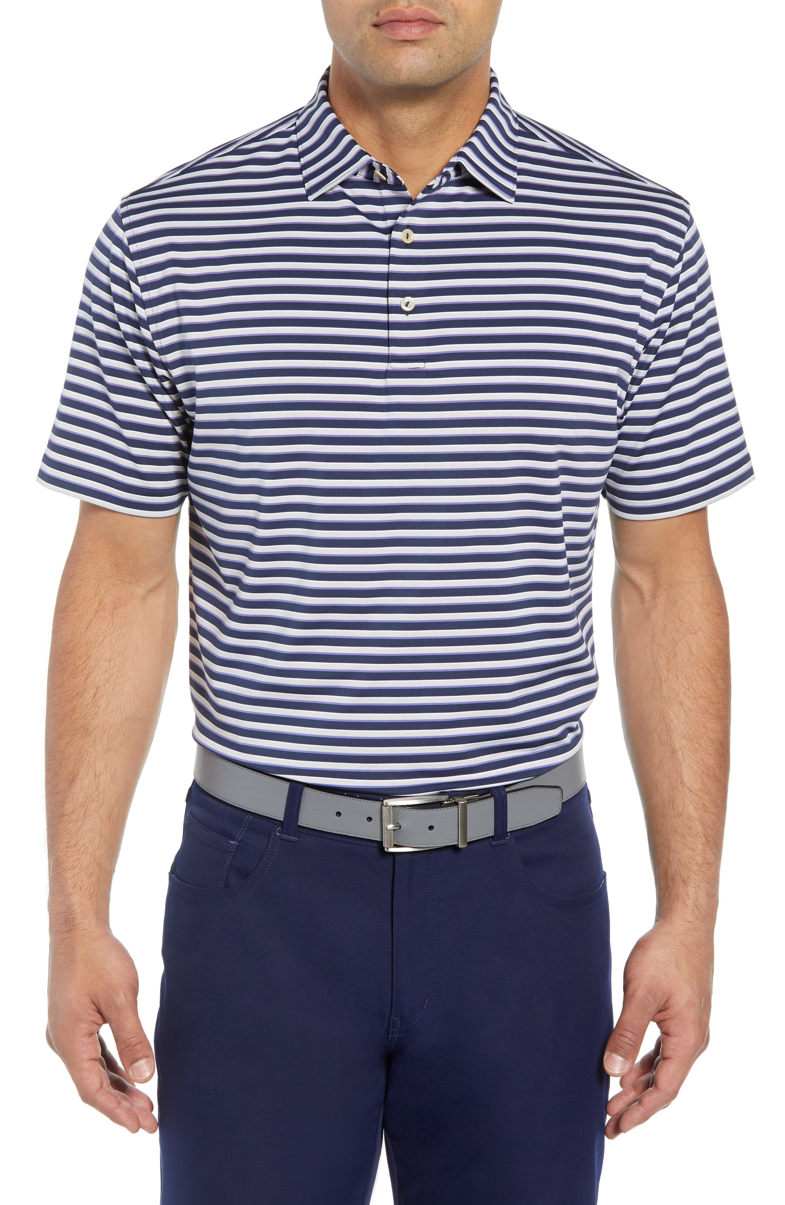 Camelot Stripe Stretch Jersey Polo,                         Main,                         color, 410