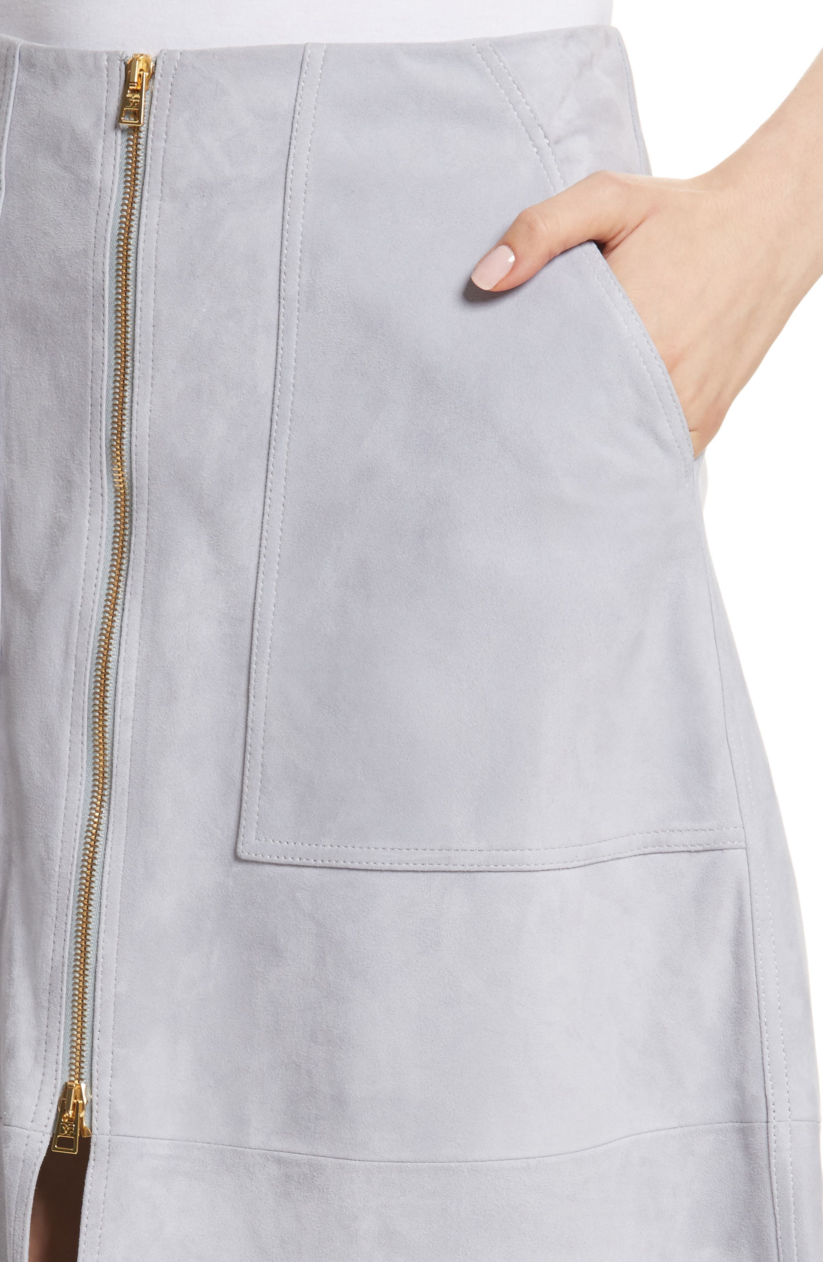 Diane von Furstenberg Patch Pocket Suede Midi Skirt,                             Alternate thumbnail 4, color,                             031