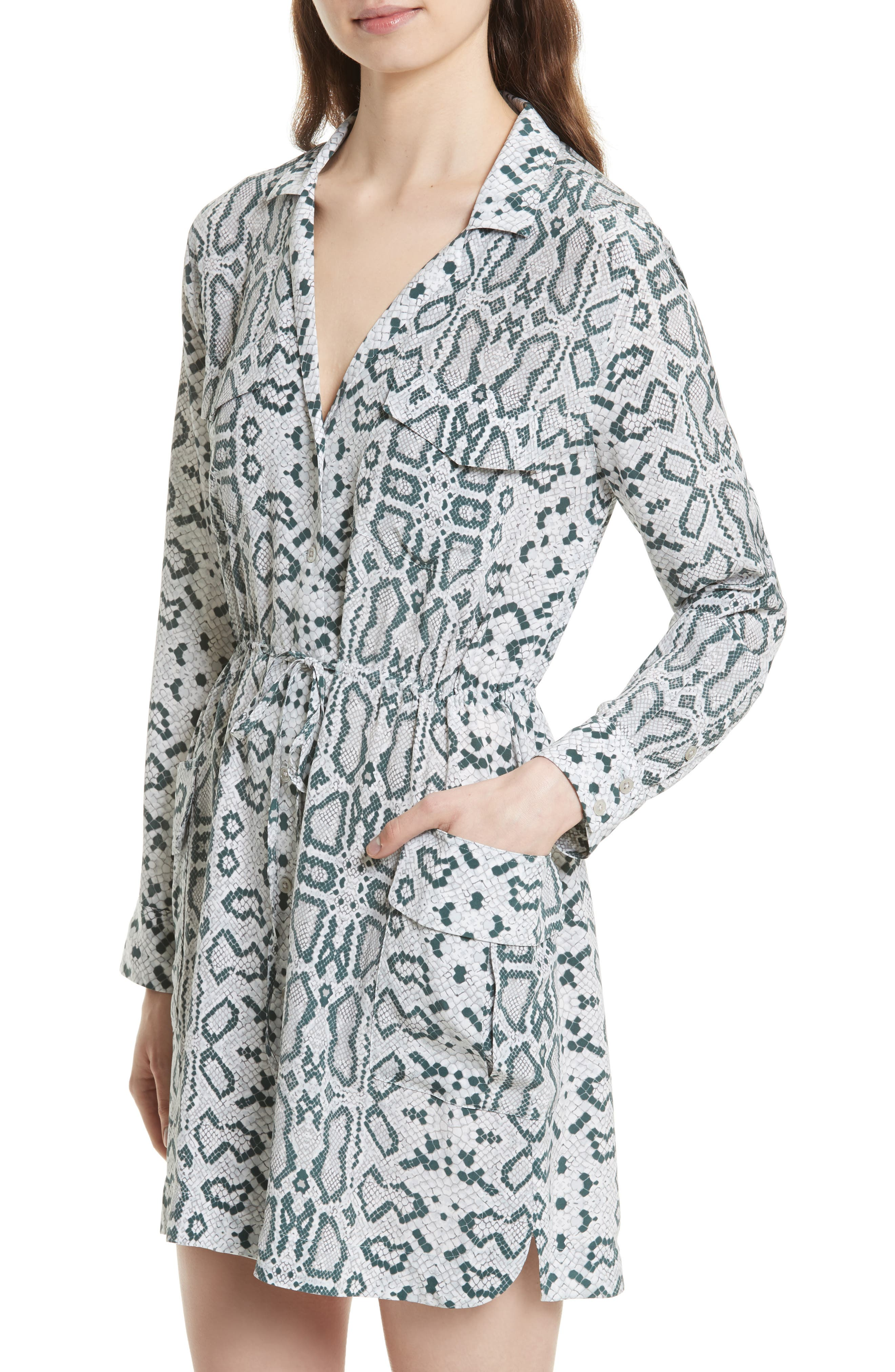 Emmanuelle Snake Print Silk Shirtdress,                             Alternate thumbnail 4, color,                             073