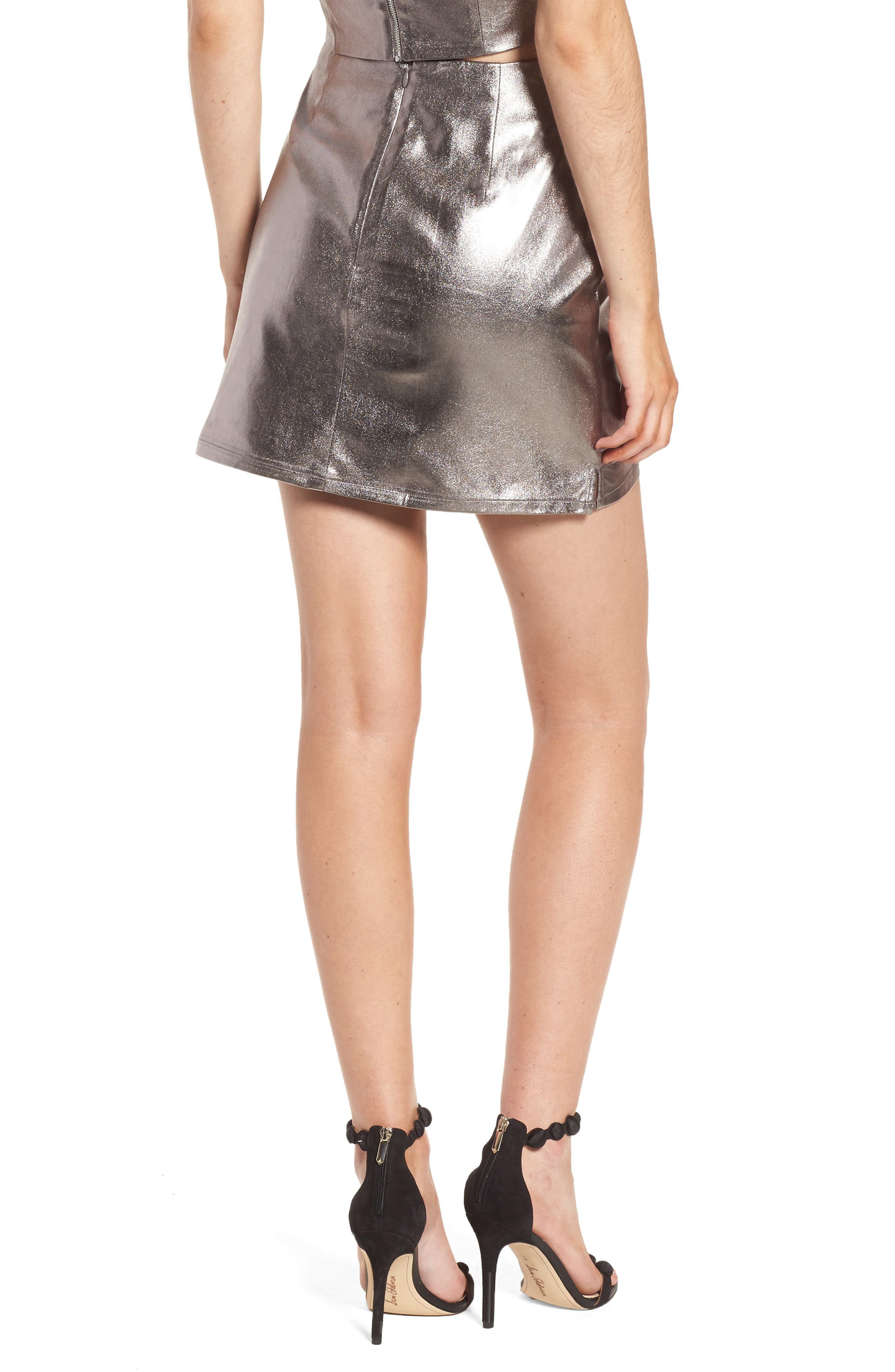 Lovers+ Friends Back to Basics Silver Miniskirt,                             Alternate thumbnail 2, color,                             020