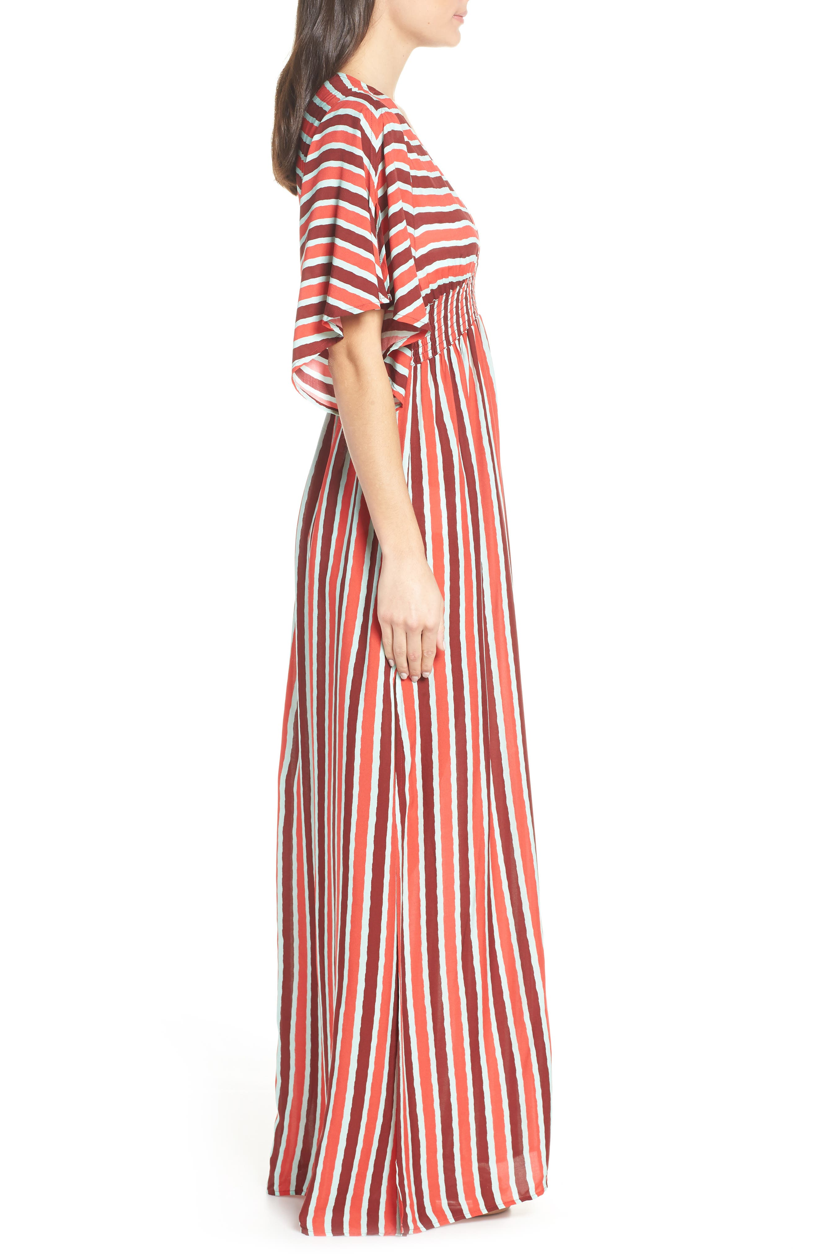 Morning Glam Cover-Up Maxi Dress,                             Alternate thumbnail 3, color,                             MULTI RED