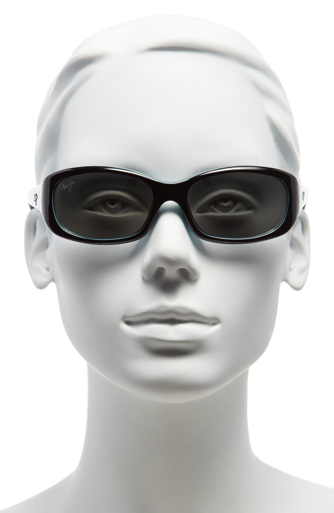 Punchbowl 54mm PolarizedPlus2<sup>®</sup> Rectangular Sunglasses,                             Alternate thumbnail 2, color,                             BLACK W/ BLUE