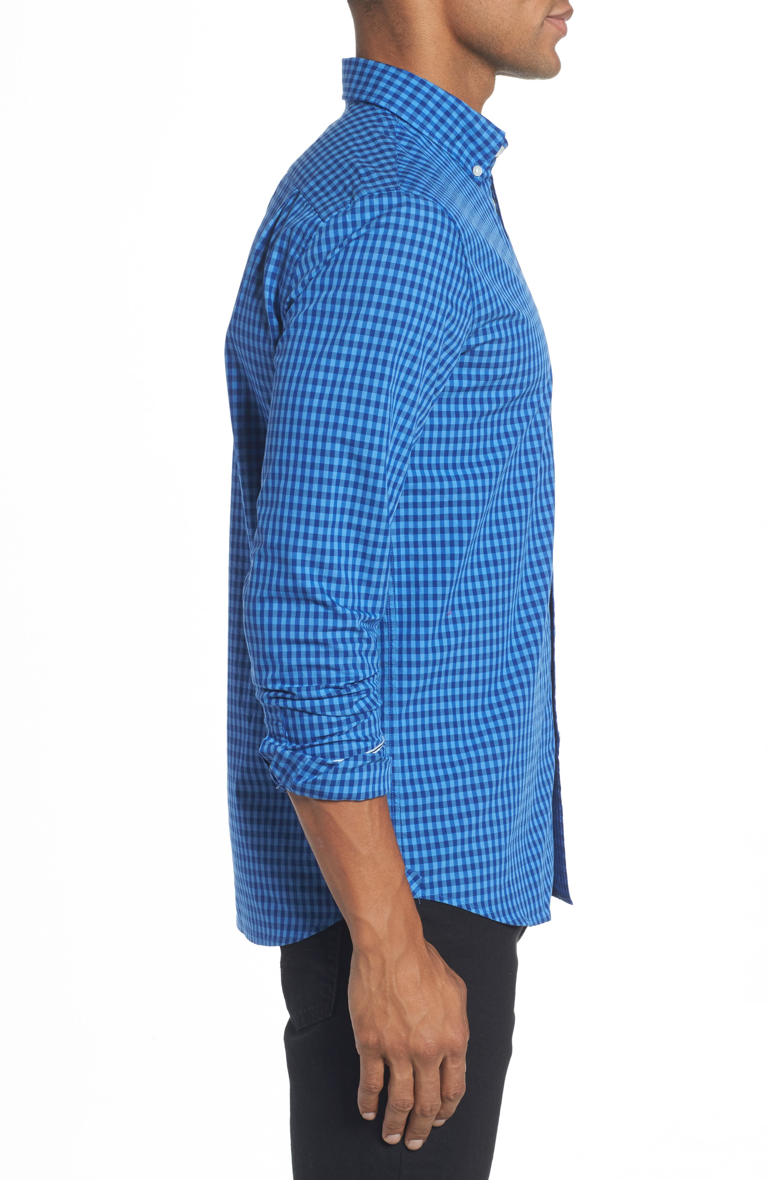 Gingham Check Poplin Shirt,                             Alternate thumbnail 3, color,                             493