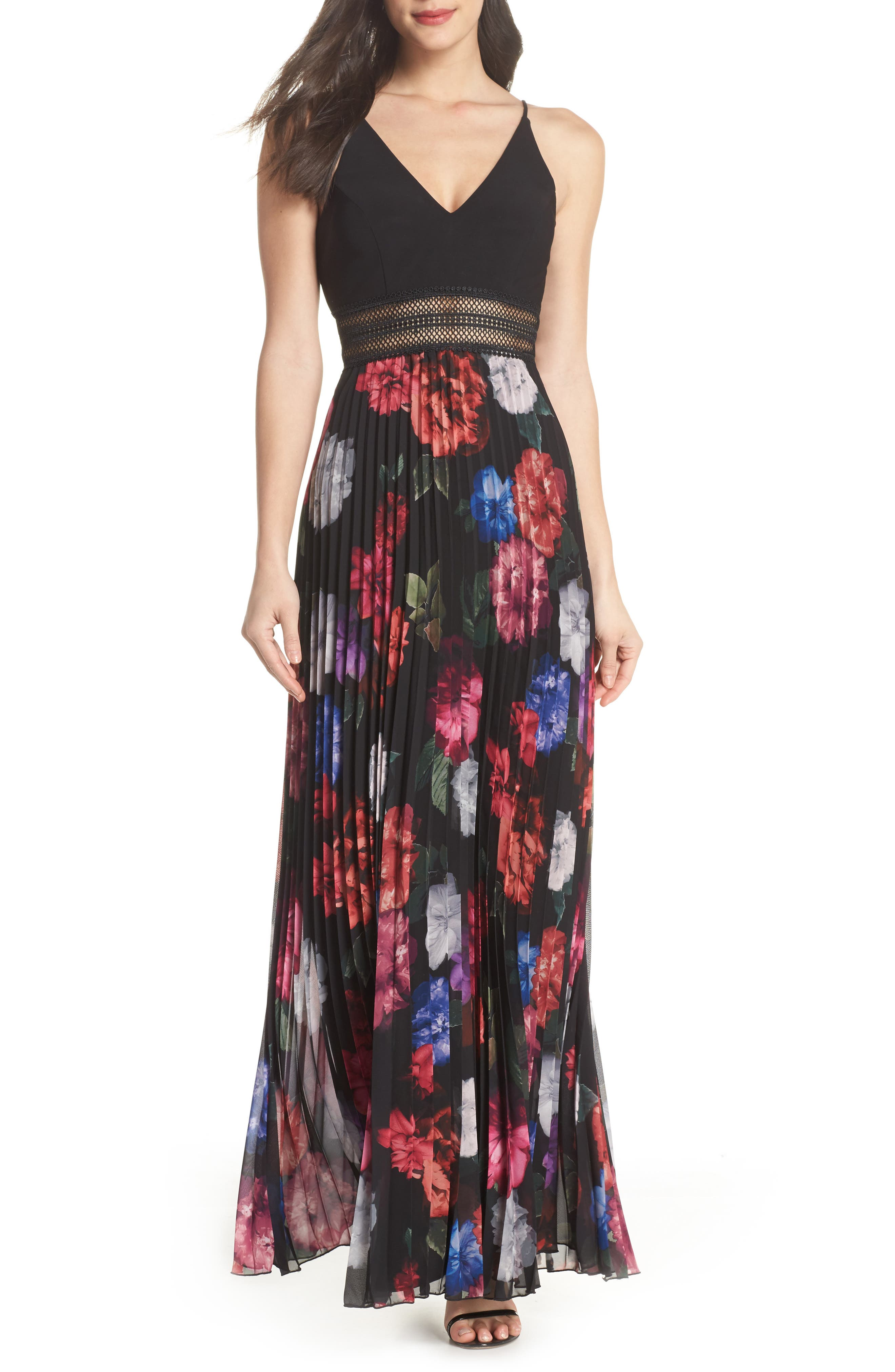 Floral Pleated Gown,                         Main,                         color, 001