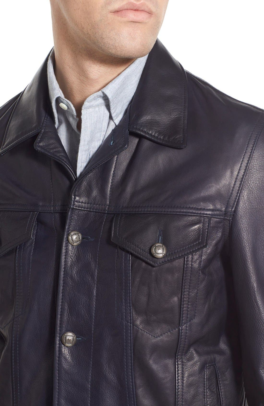 SCHOTT NYC,                             Washed Leather Trucker Jacket,                             Alternate thumbnail 5, color,                             410