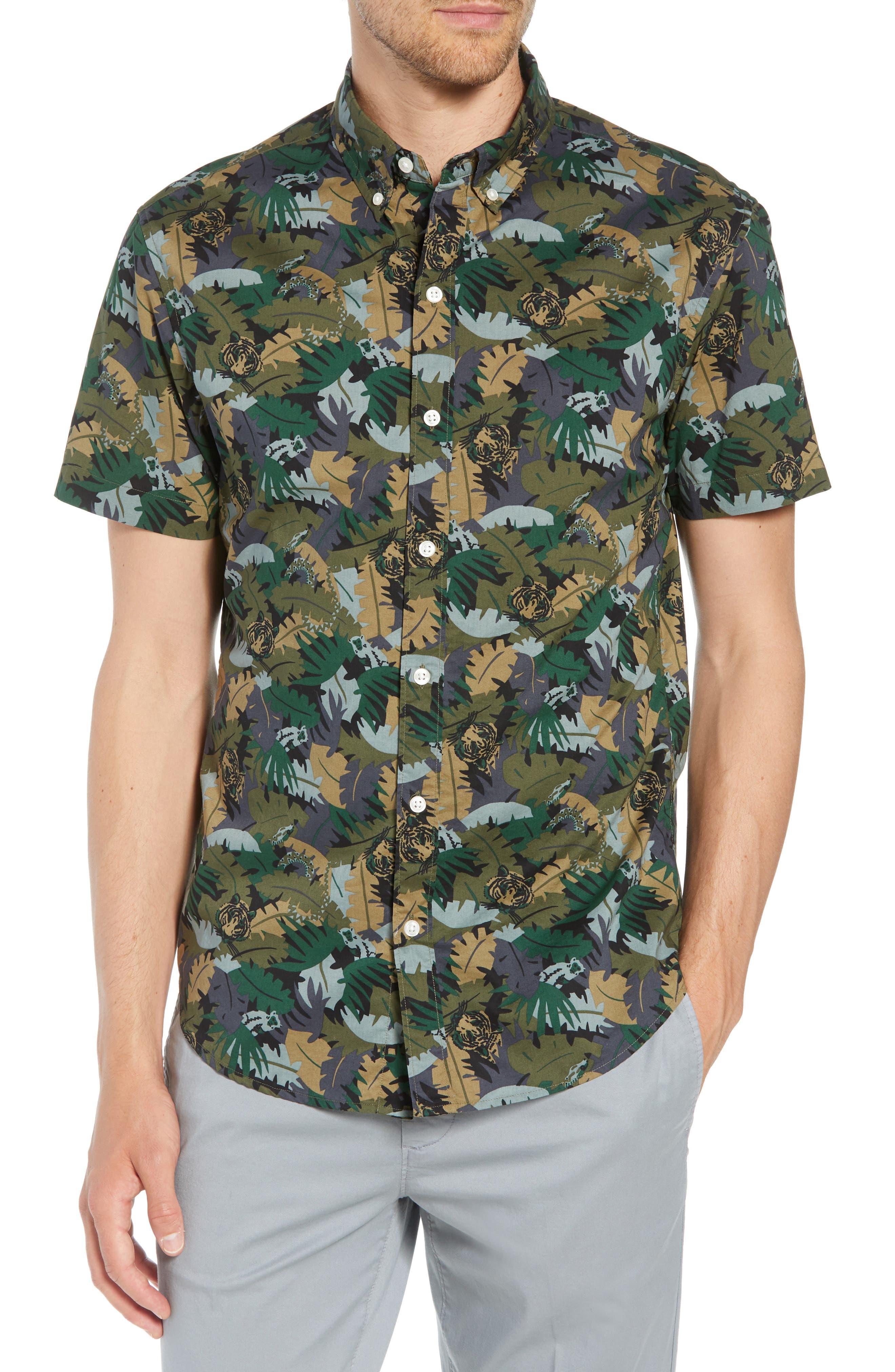 Riviera Slim Fit Jungle Camo Sport Shirt,                             Main thumbnail 1, color,                             001