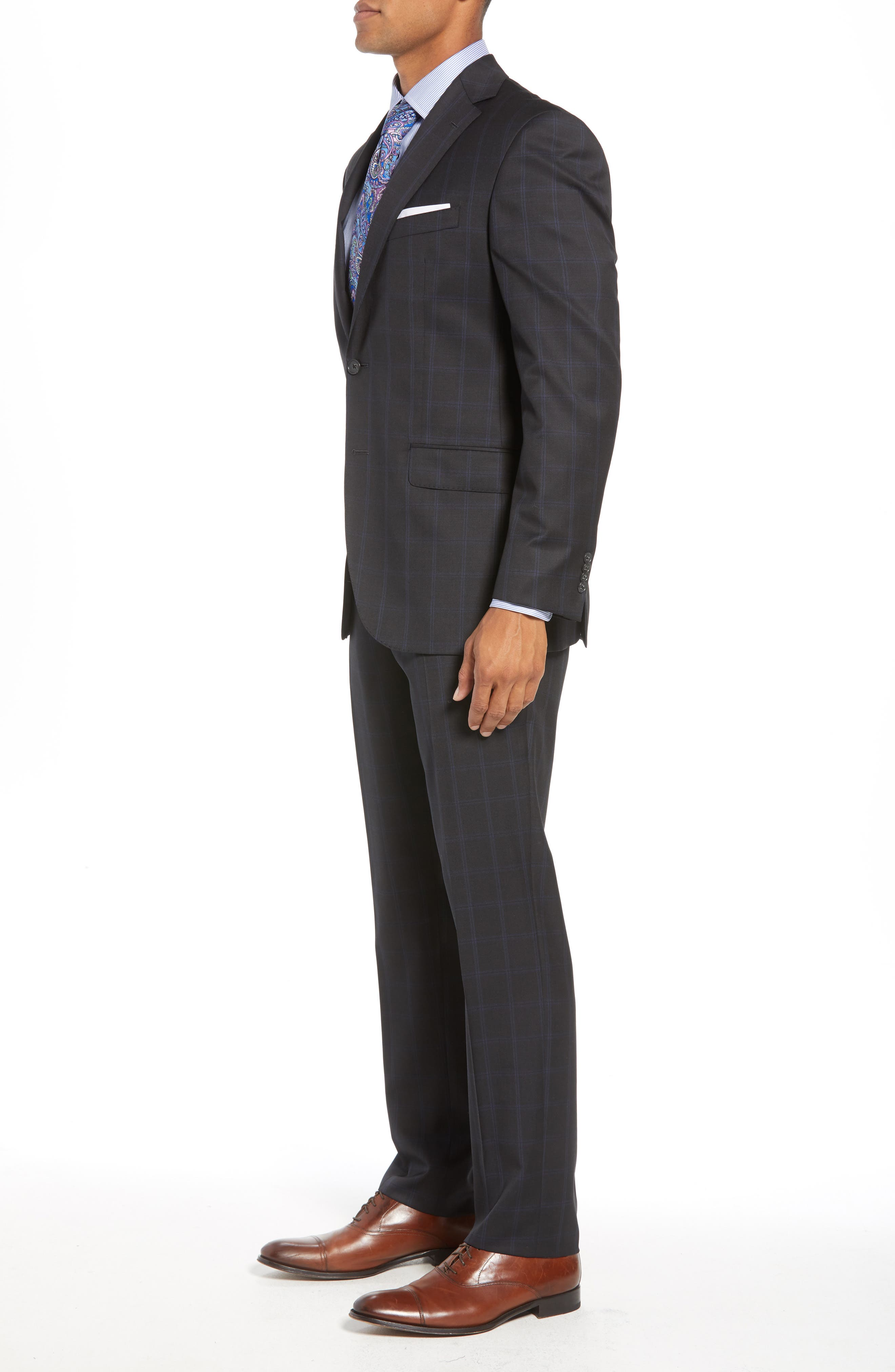 Ryan Classic Fit Windowpane Wool Suit,                             Alternate thumbnail 3, color,                             CHARCOAL