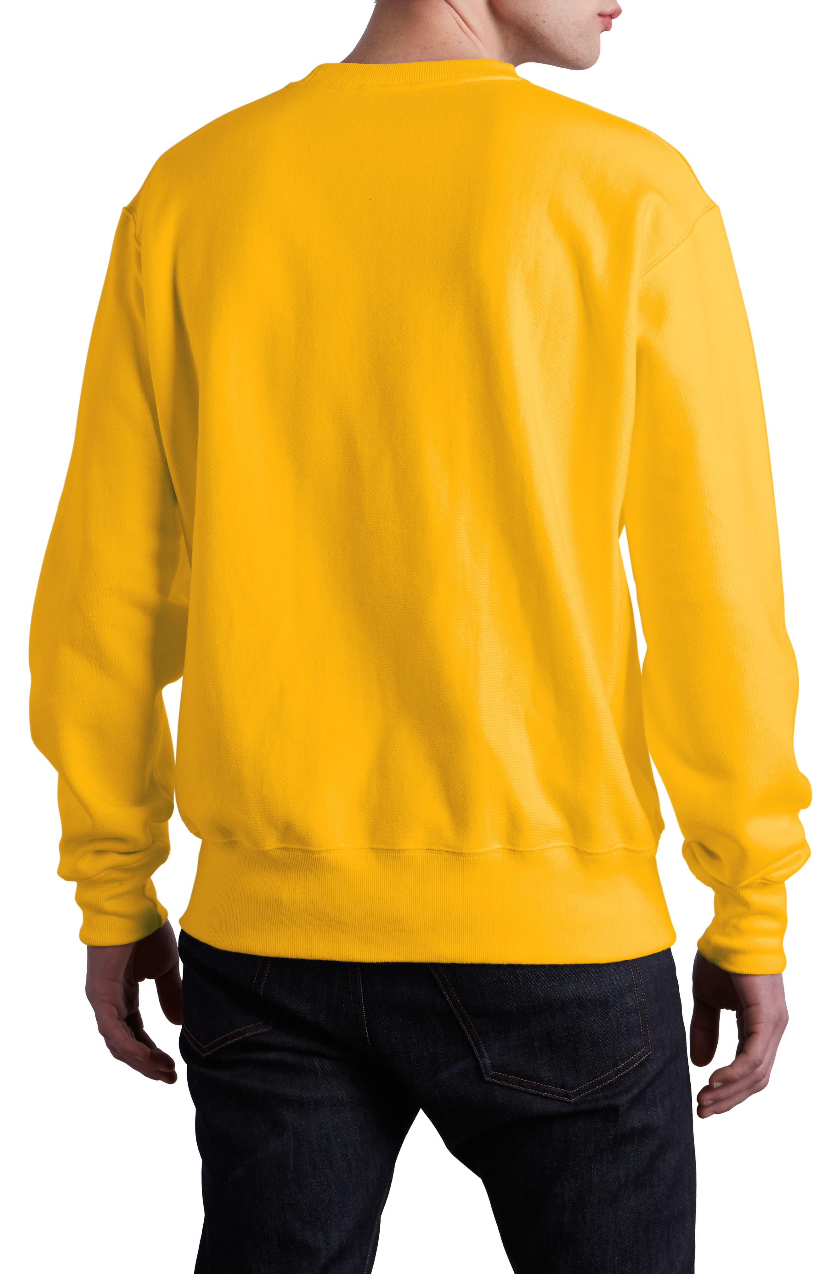 Chainstitched Script Logo Crewneck Sweatshirt,                             Alternate thumbnail 2, color,                             CHAMPION GOLD