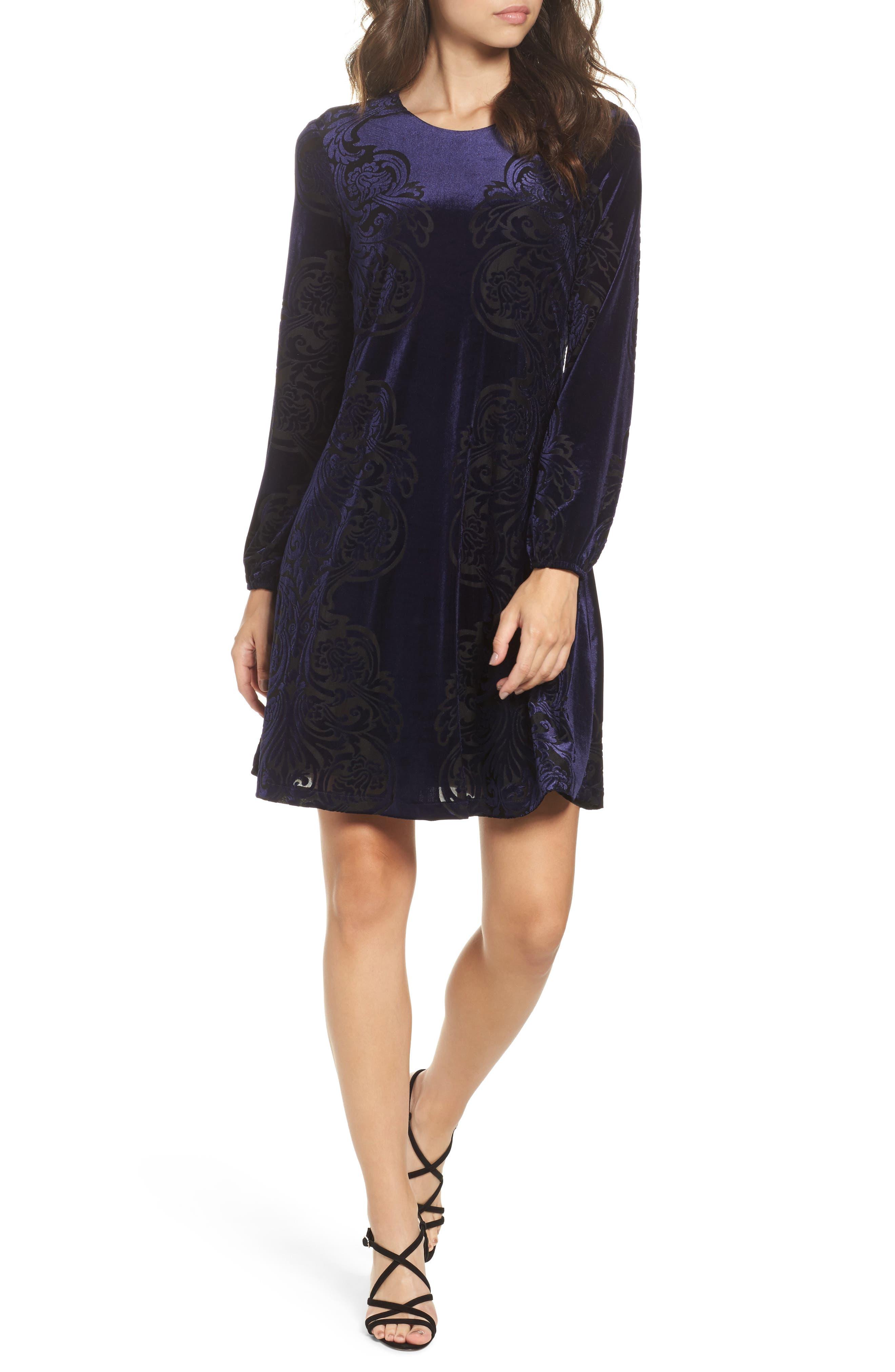 Petite Eliza J Burnout Velvet Shift Dress, Blue