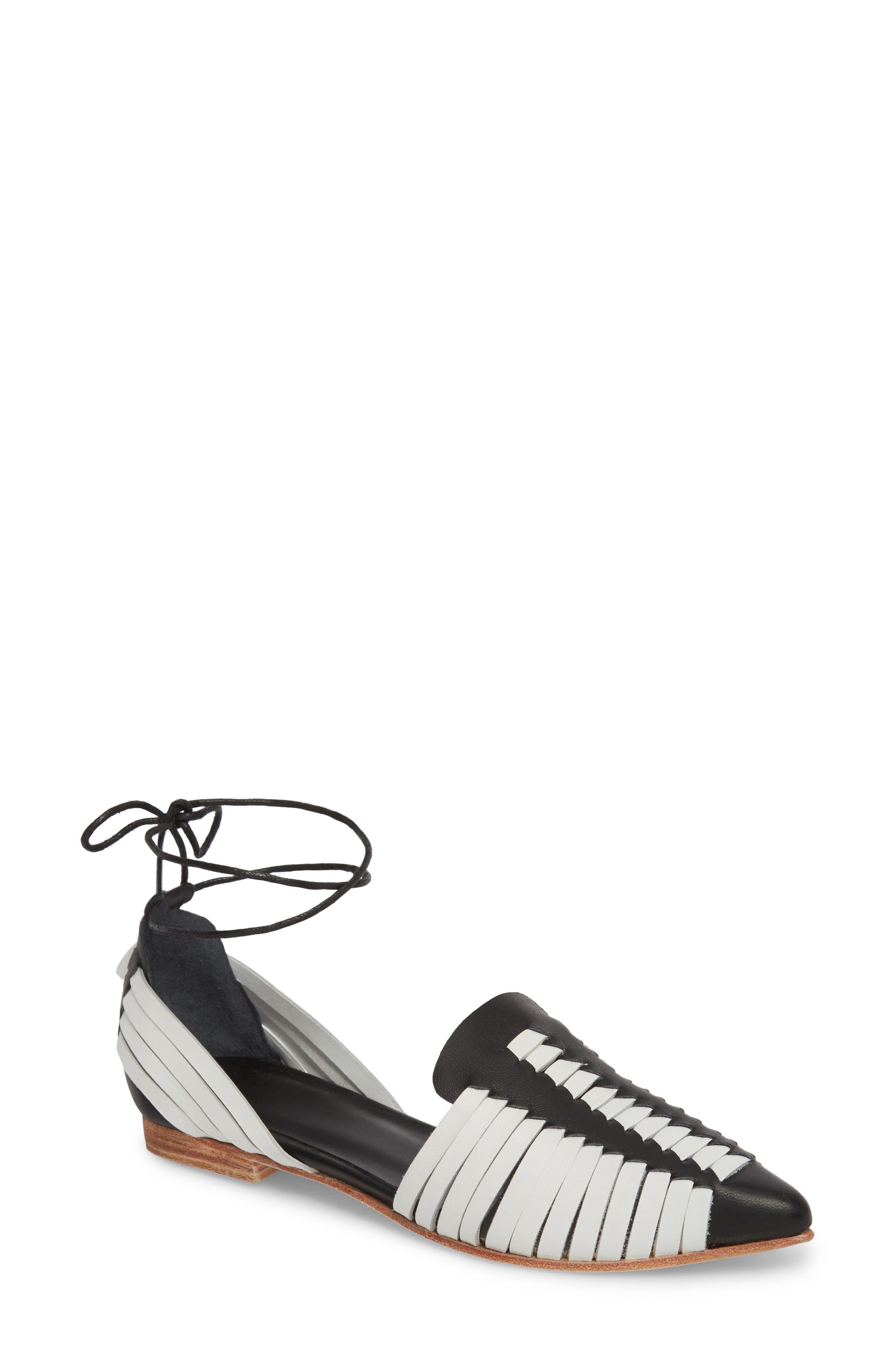 Hollis Huarache Ankle Tie Flat,                             Main thumbnail 1, color,                             BLACK/ WHITE LEATHER