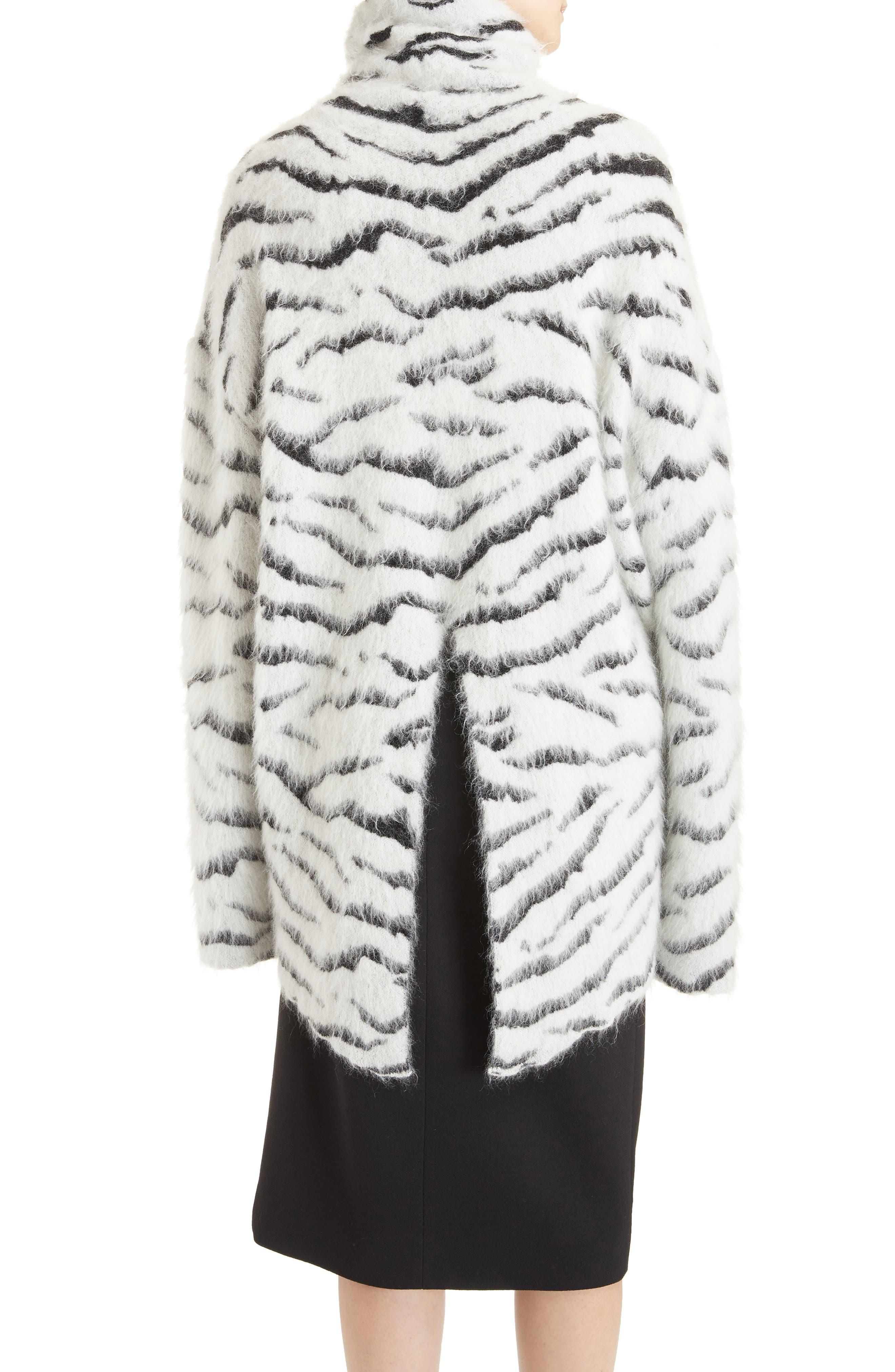 Zebra Stripe Mohair Blend Turtleneck Sweater,                             Alternate thumbnail 2, color,                             116