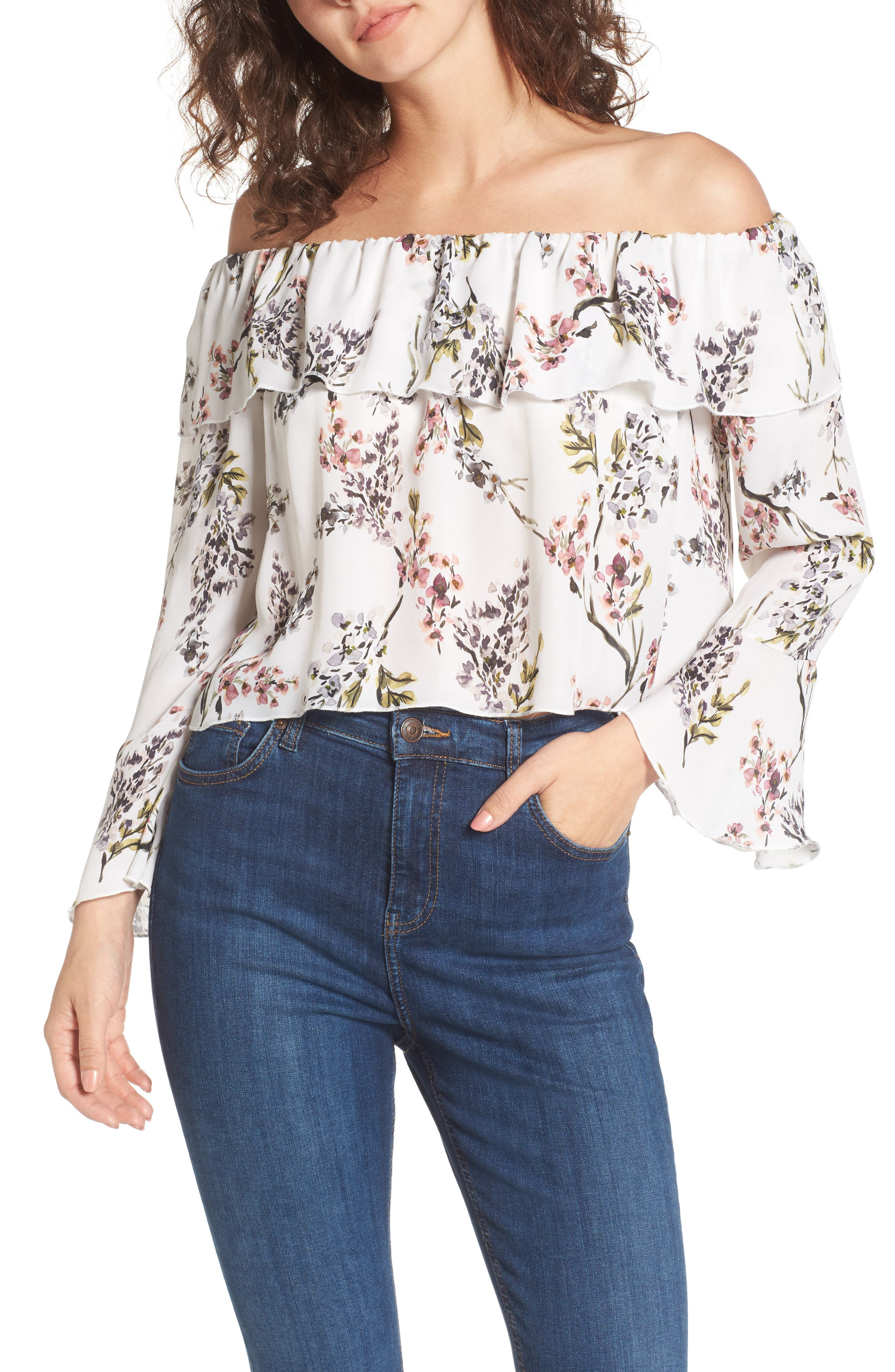 Kennedy Off the Shoulder Blouse,                         Main,                         color, 002