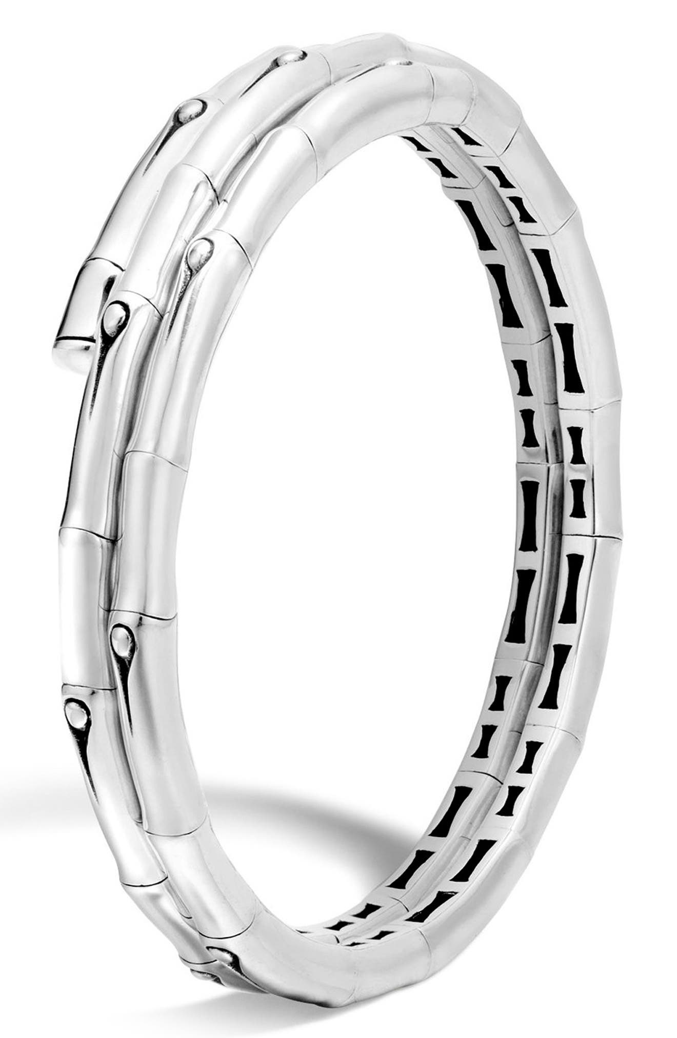 Bamboo Small Double Coil Bracelet,                         Main,                         color, SILVER