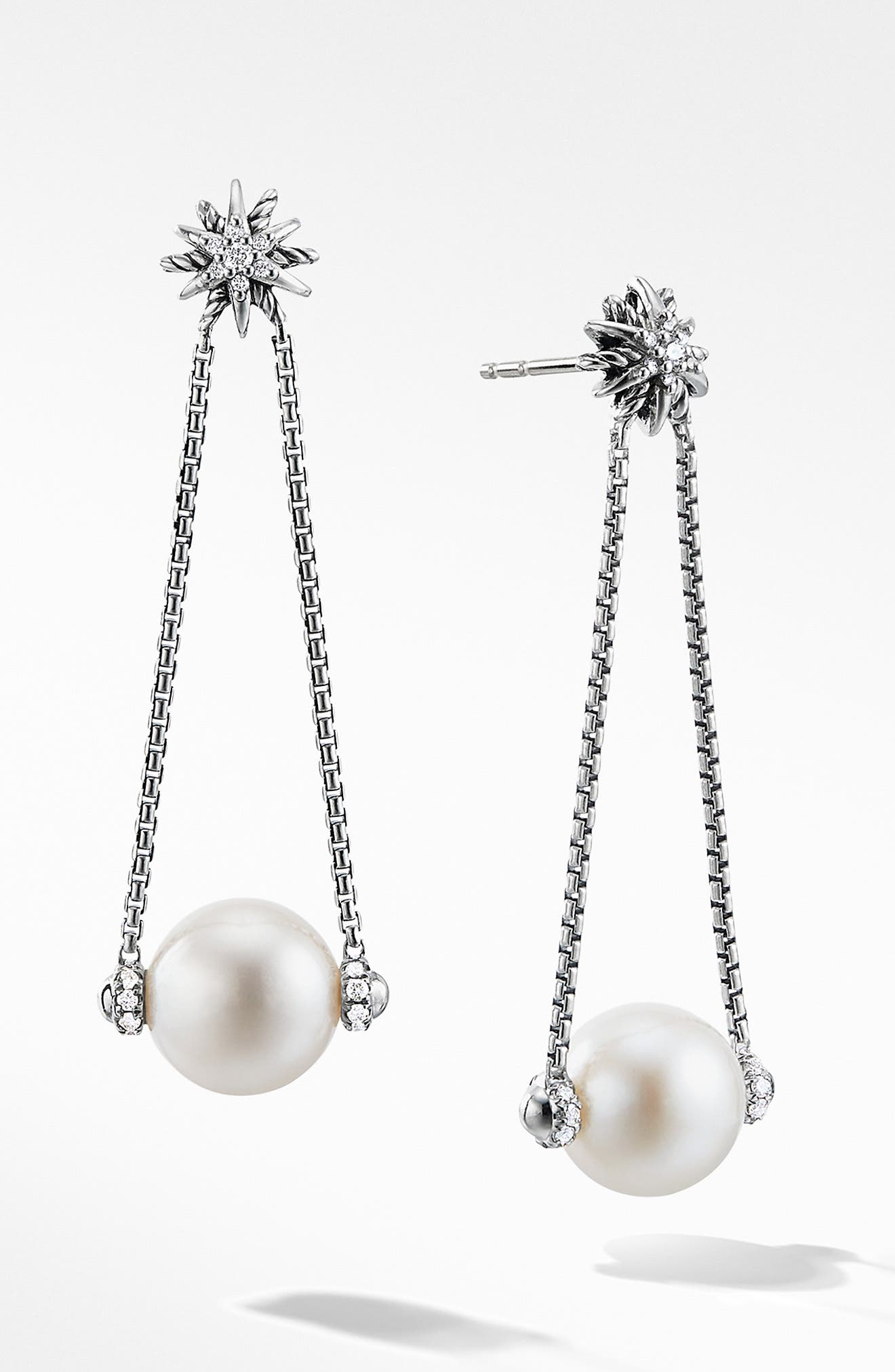 Starburst Pearl Drop Earrings with Diamonds,                         Main,                         color, PEARL