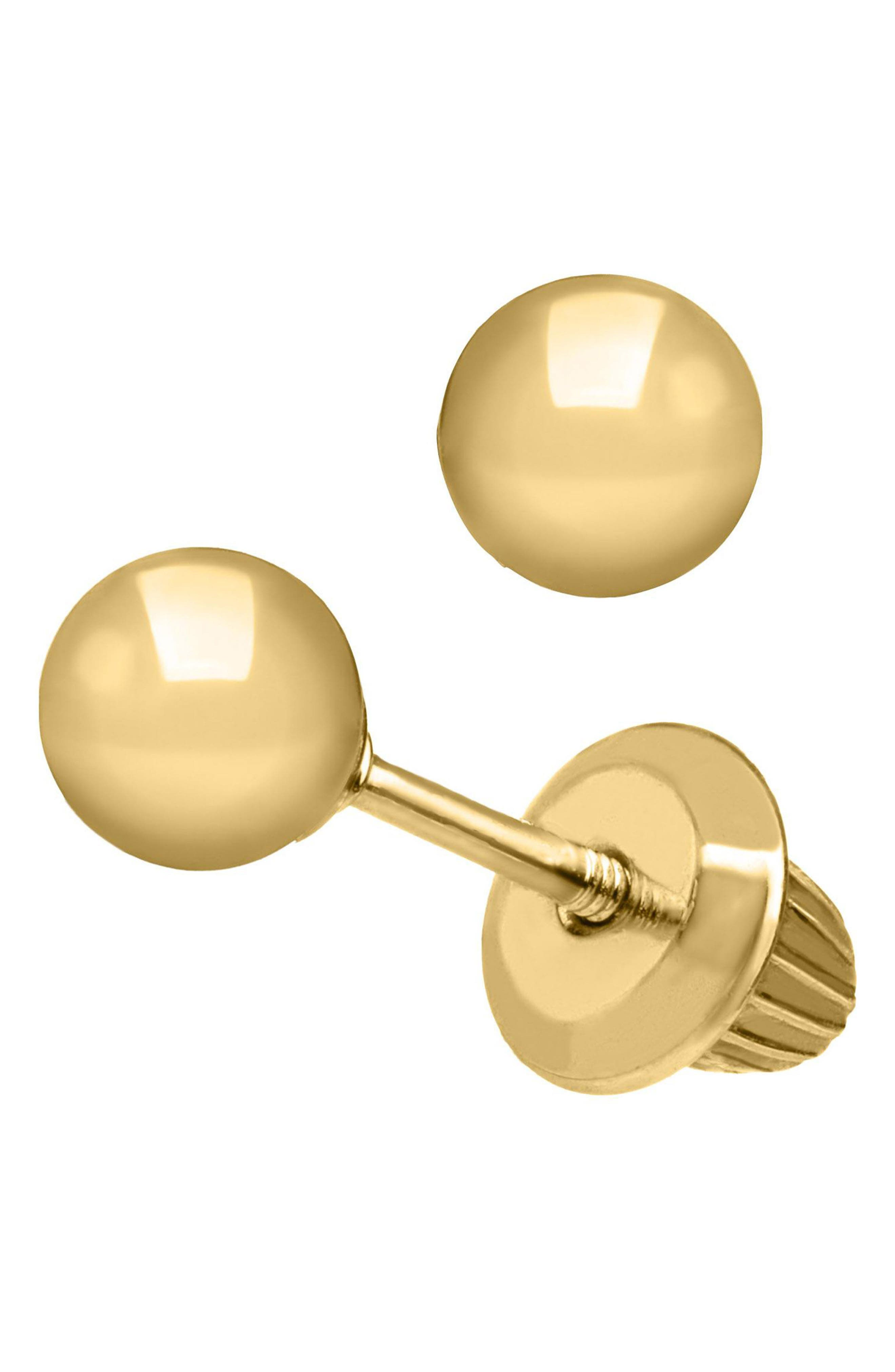 14k Gold Ball Earrings,                             Alternate thumbnail 2, color,                             GOLD
