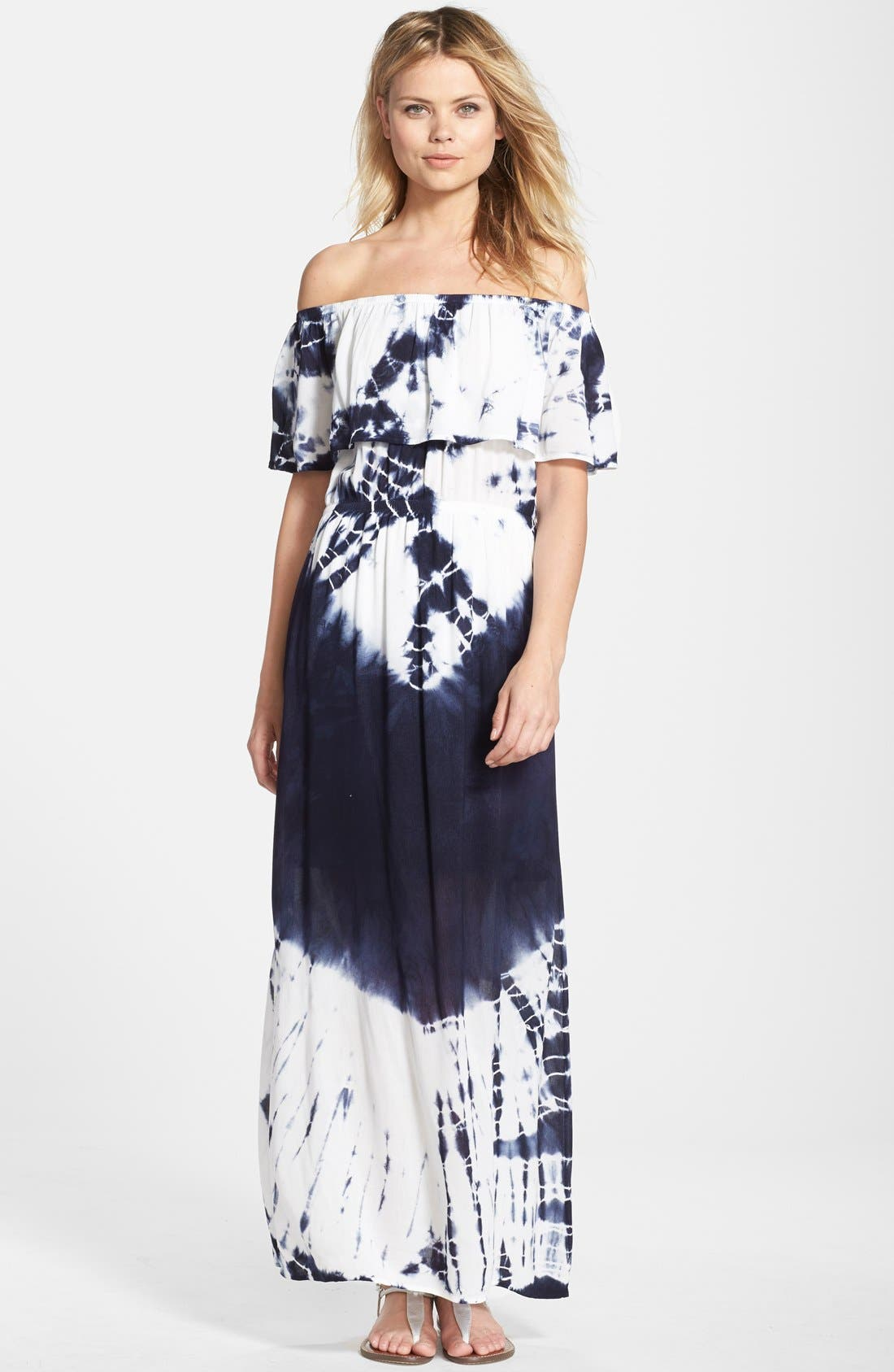 Tie Dye Off Shoulder Maxi Dress,                             Main thumbnail 1, color,
