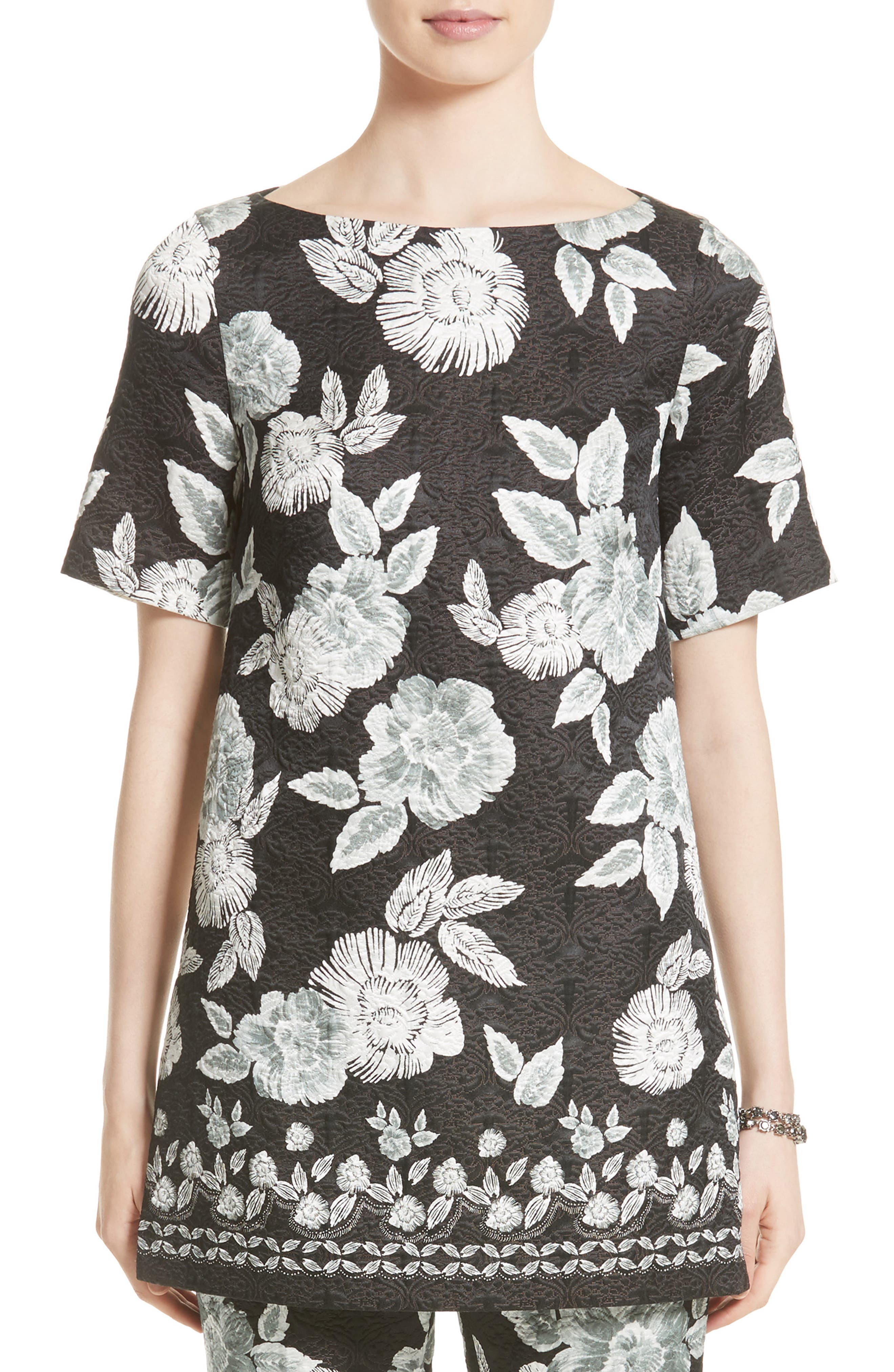 Textured Floral Print Tunic,                             Main thumbnail 1, color,                             001
