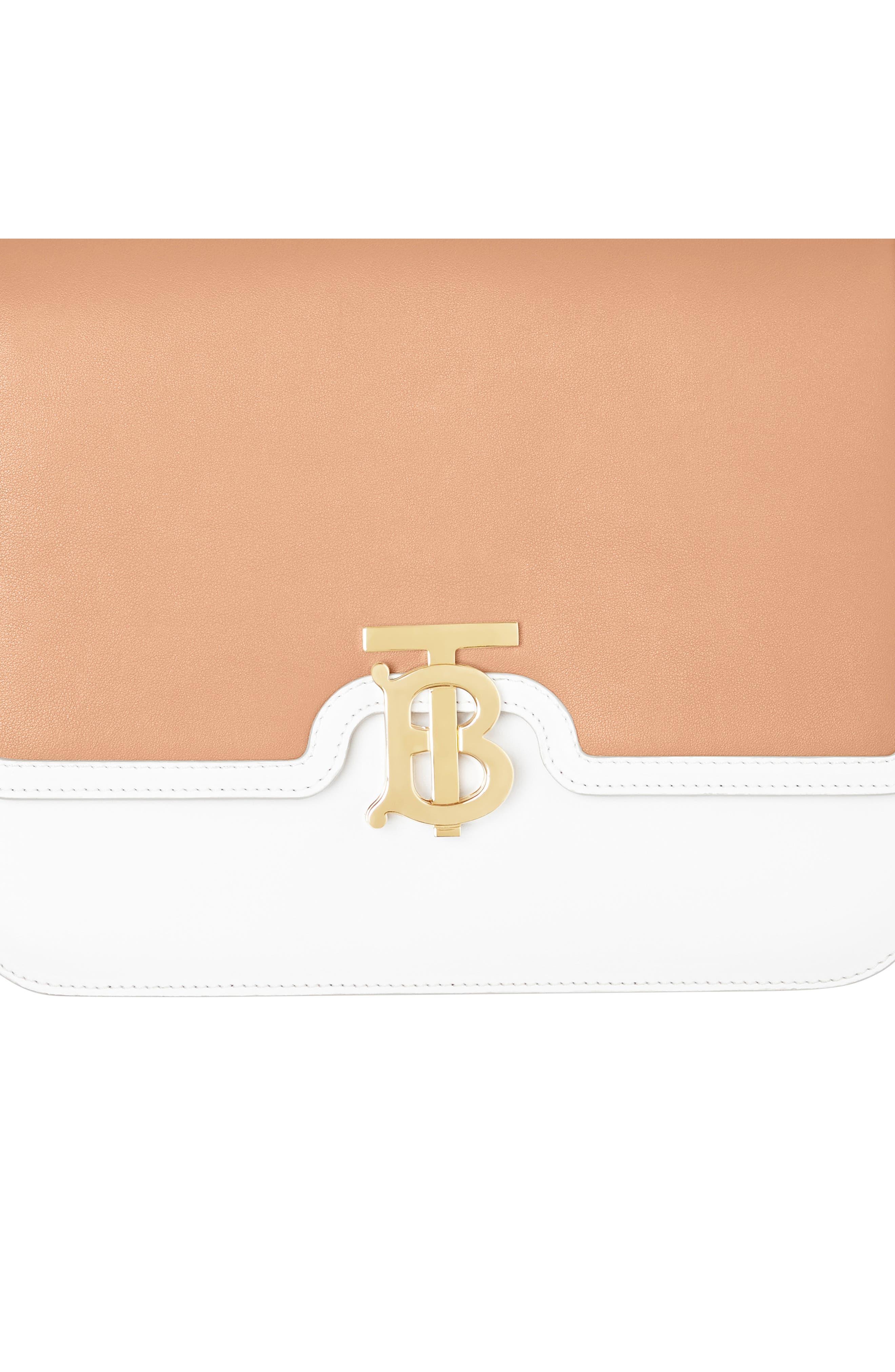 BURBERRY,                             Medium Two-Tone Leather TB Bag,                             Alternate thumbnail 5, color,                             CHALK WHITE/ LIGHT CAMEL
