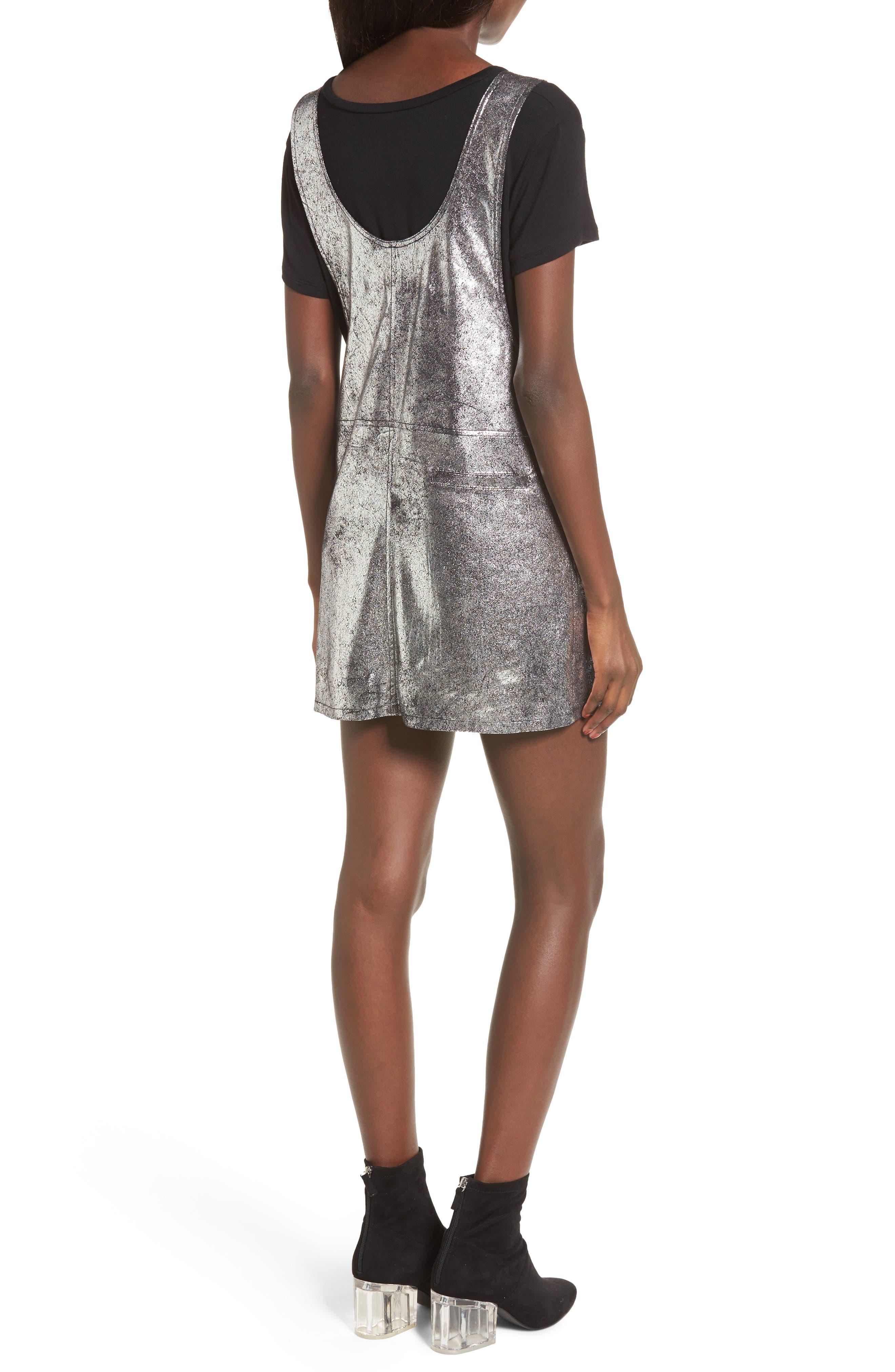 Metallic Overall Minidress,                             Alternate thumbnail 2, color,