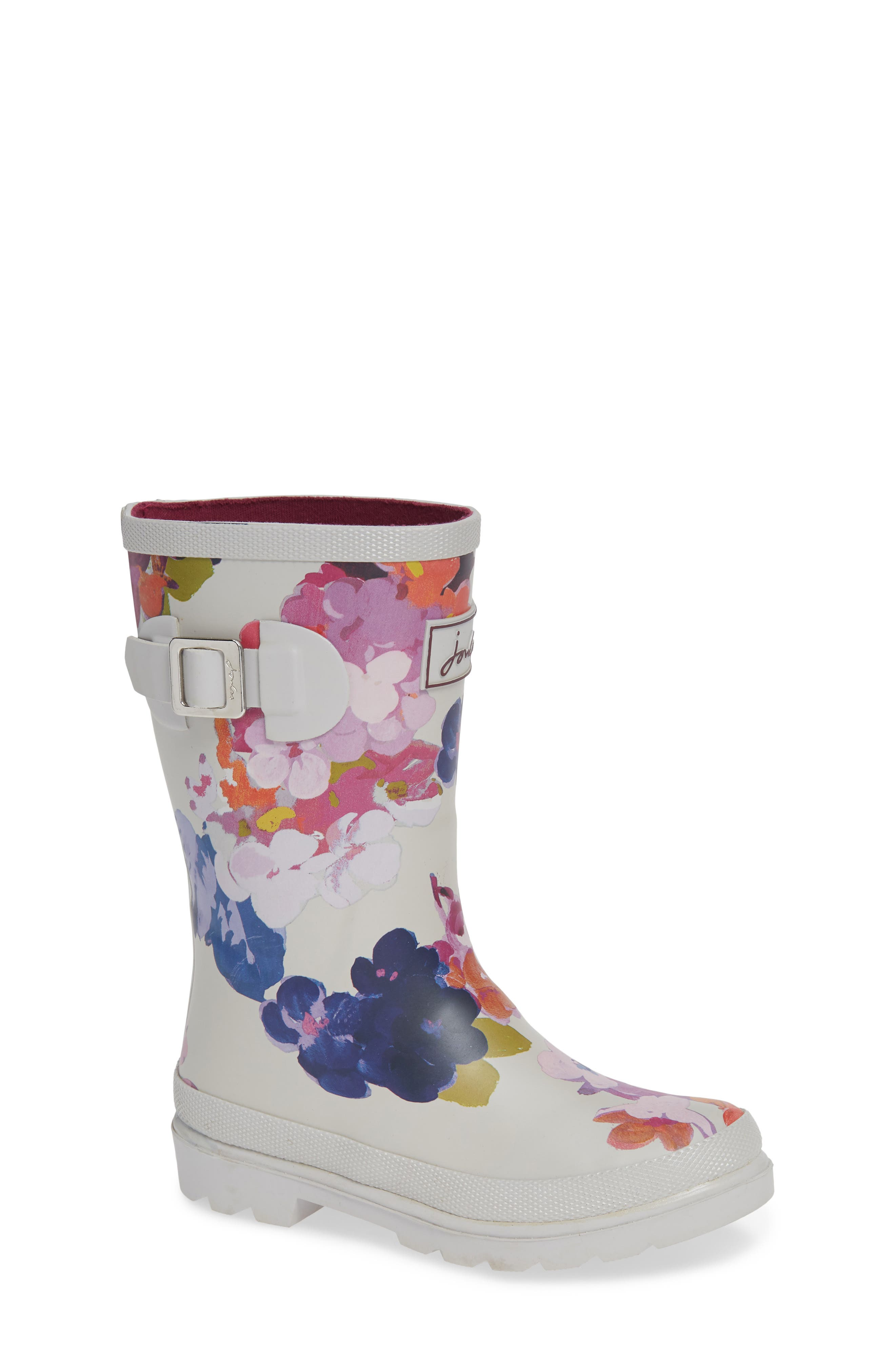 Mid Height Print Welly Waterproof Rain Boot,                         Main,                         color, GREY PAINTED FLORAL