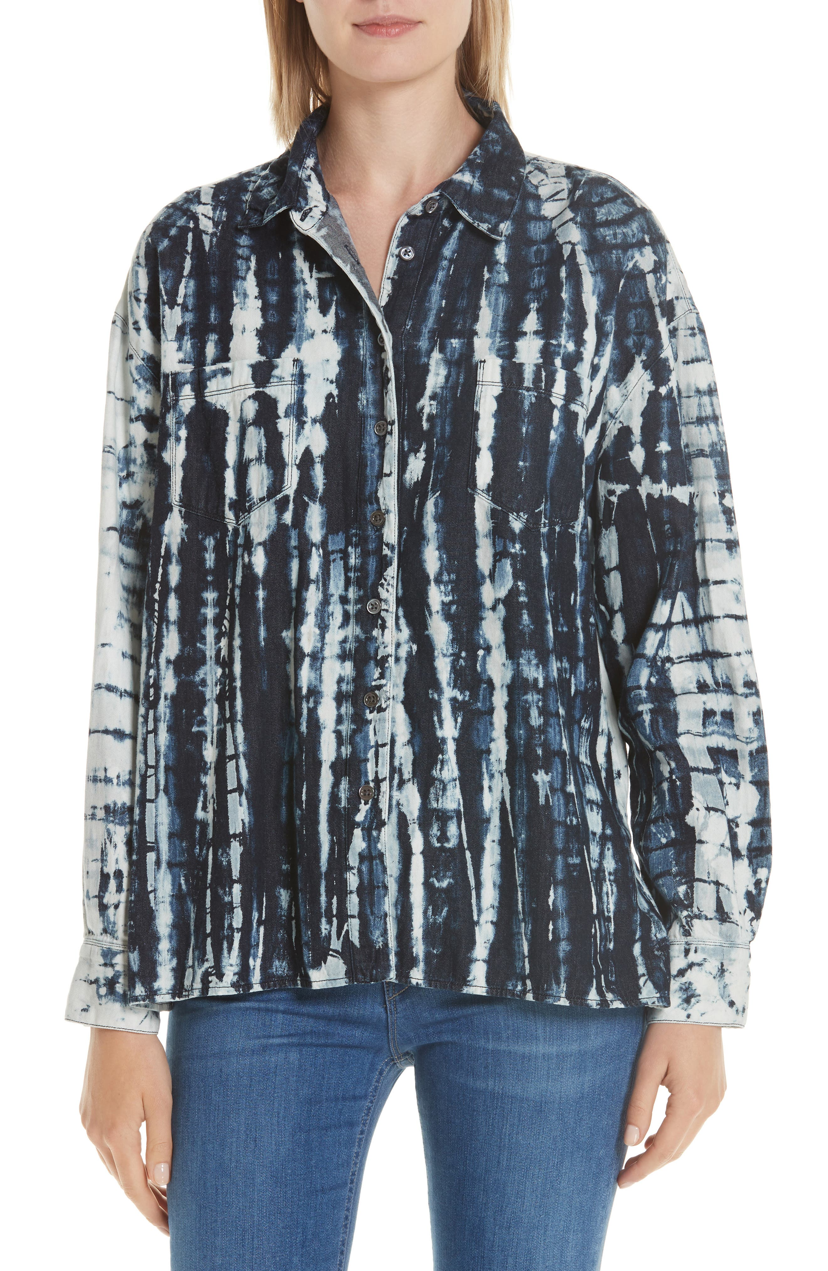 Drew Oversized Shibori Button-Down Shirt in Arlo