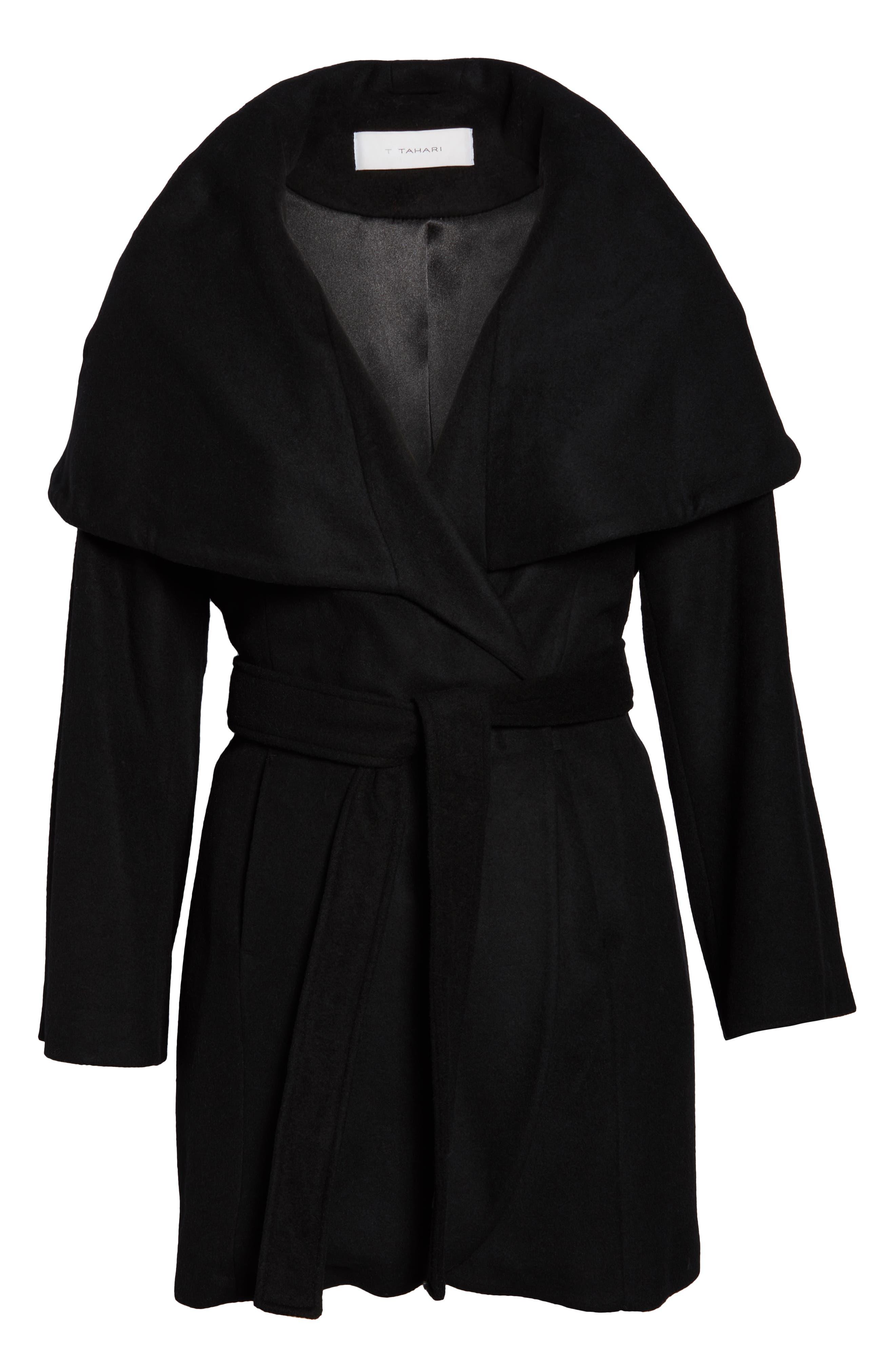 Marla Cutaway Wrap Coat with Oversize Collar,                             Alternate thumbnail 6, color,                             002