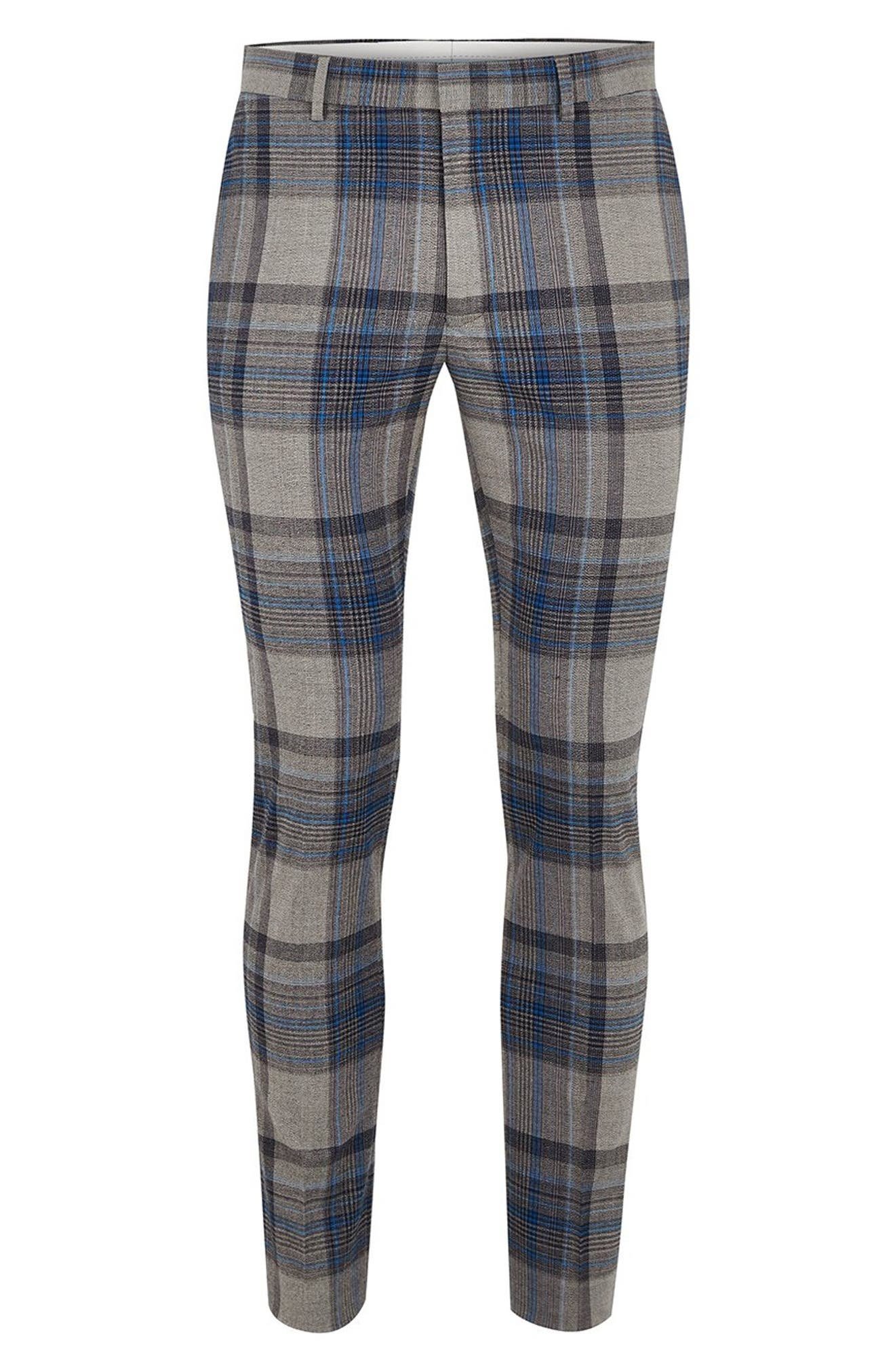 Ultra Skinny Fit Check Pants,                             Alternate thumbnail 4, color,                             020