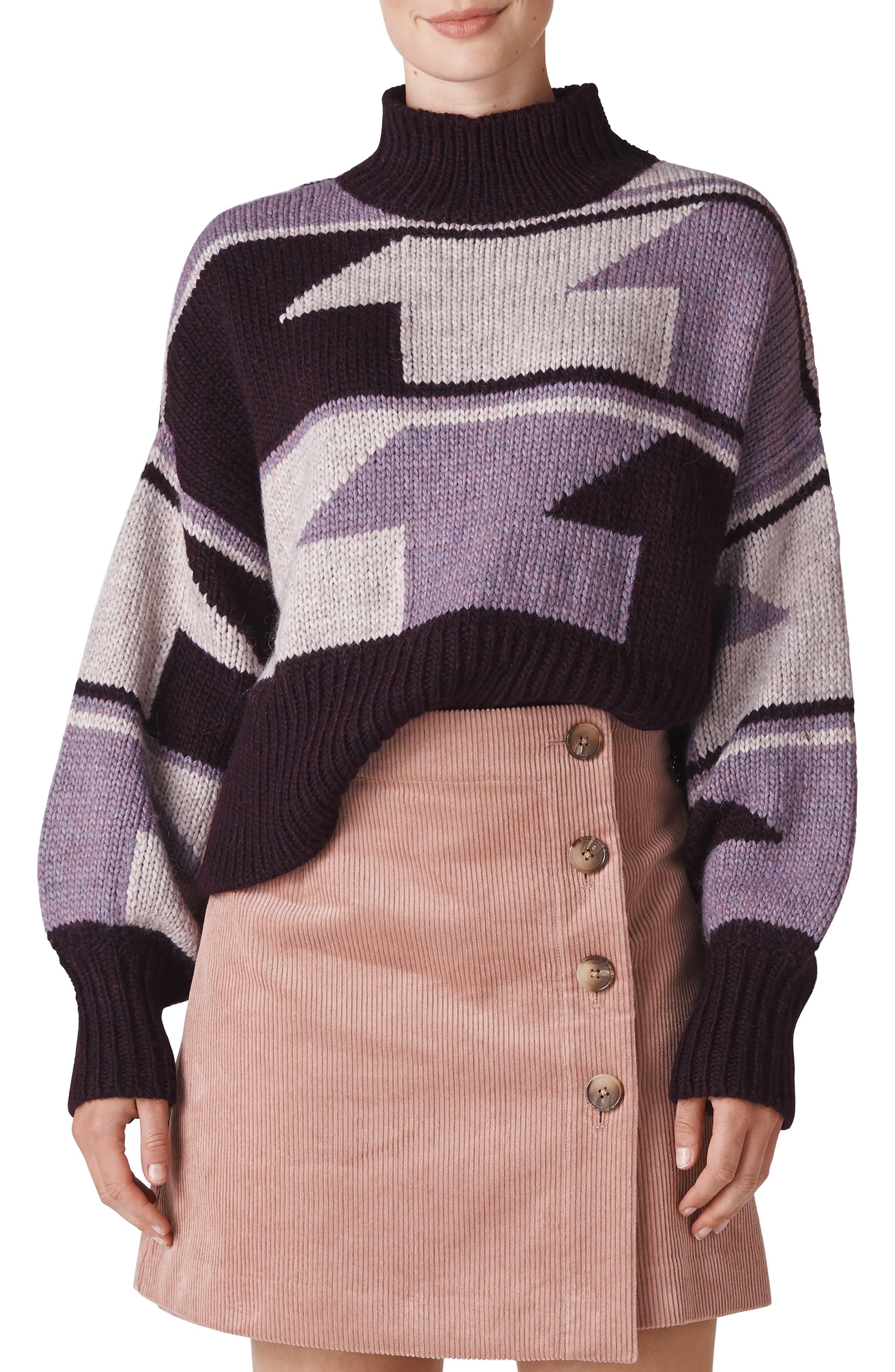 Intarsia Funnel Neck Sweater,                             Main thumbnail 1, color,                             500