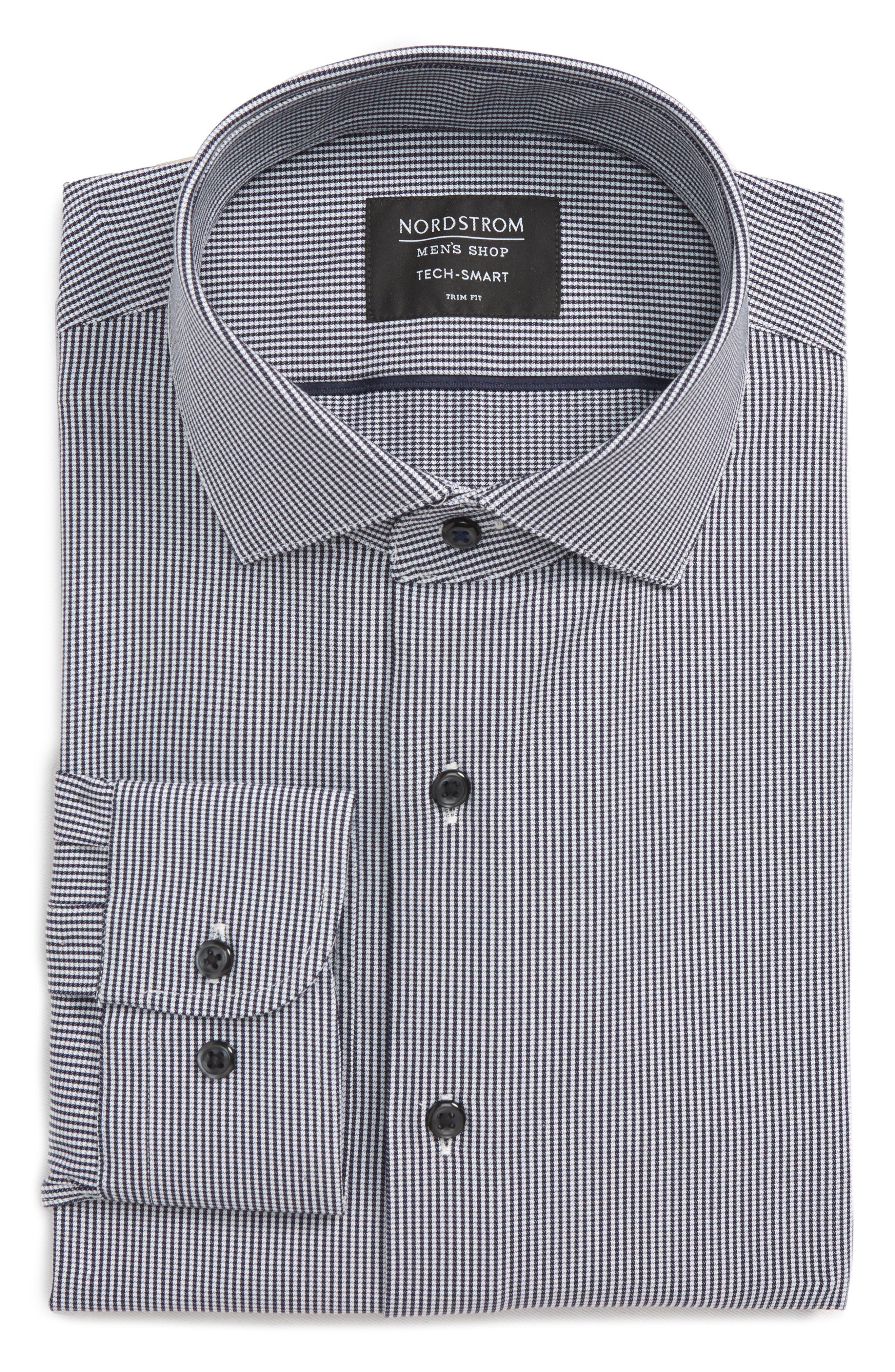 Tech-Smart Trim Fit Houndstooth Dress Shirt,                             Alternate thumbnail 9, color,