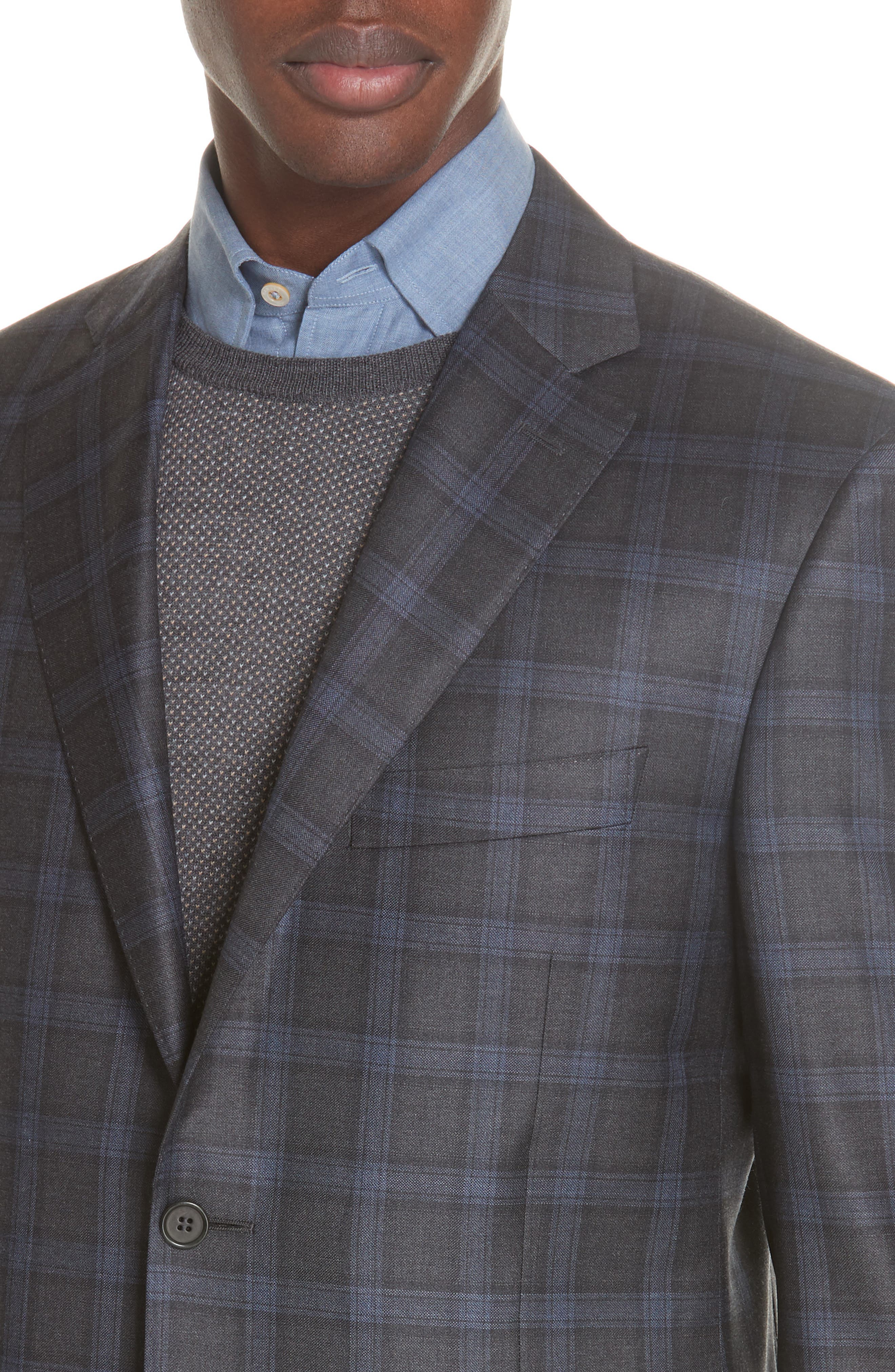 Classic Fit Plaid Wool Sport Coat,                             Alternate thumbnail 4, color,                             020