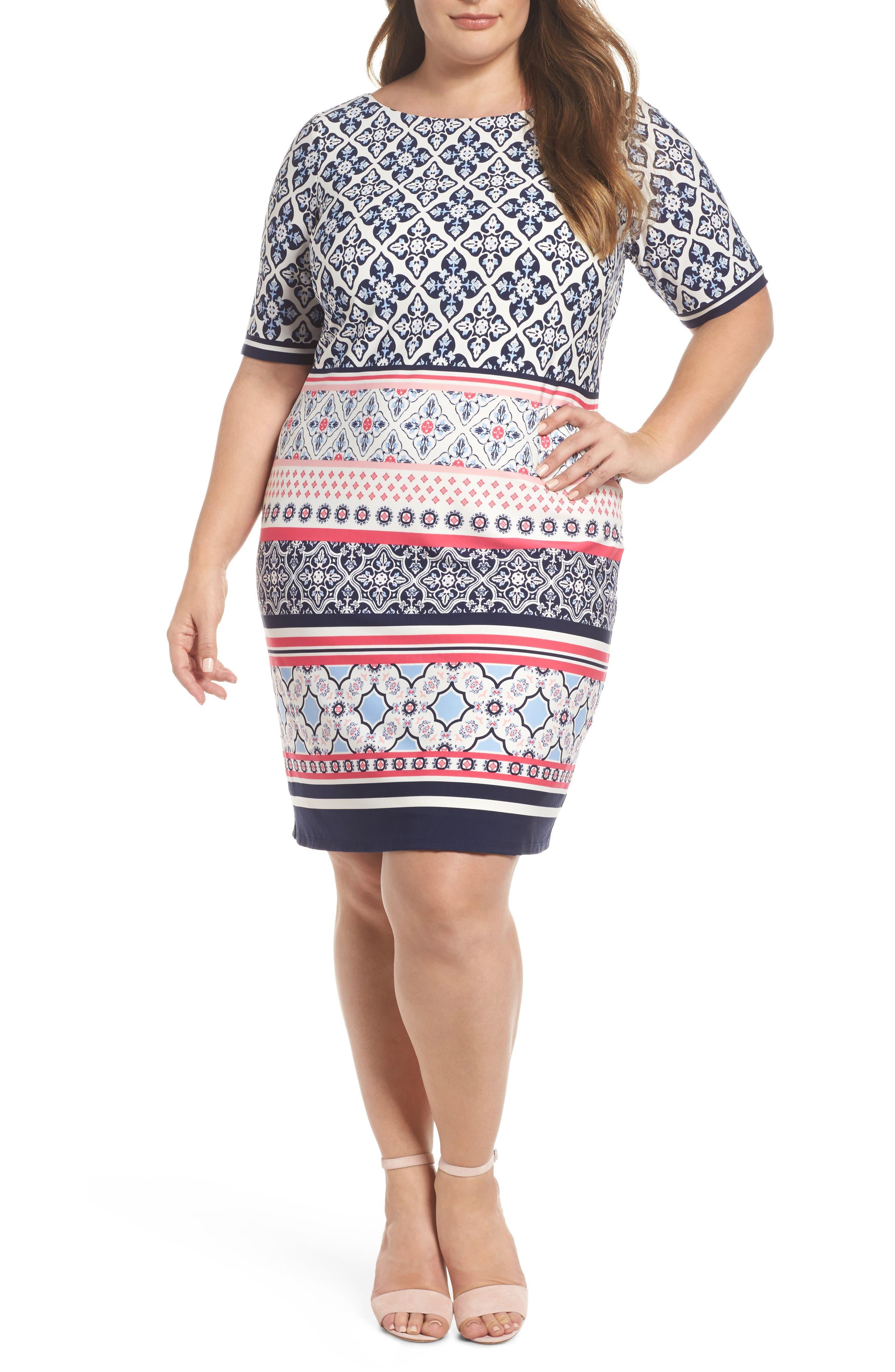 Plus Size Eliza J Print Jersey Shift Dress, Blue
