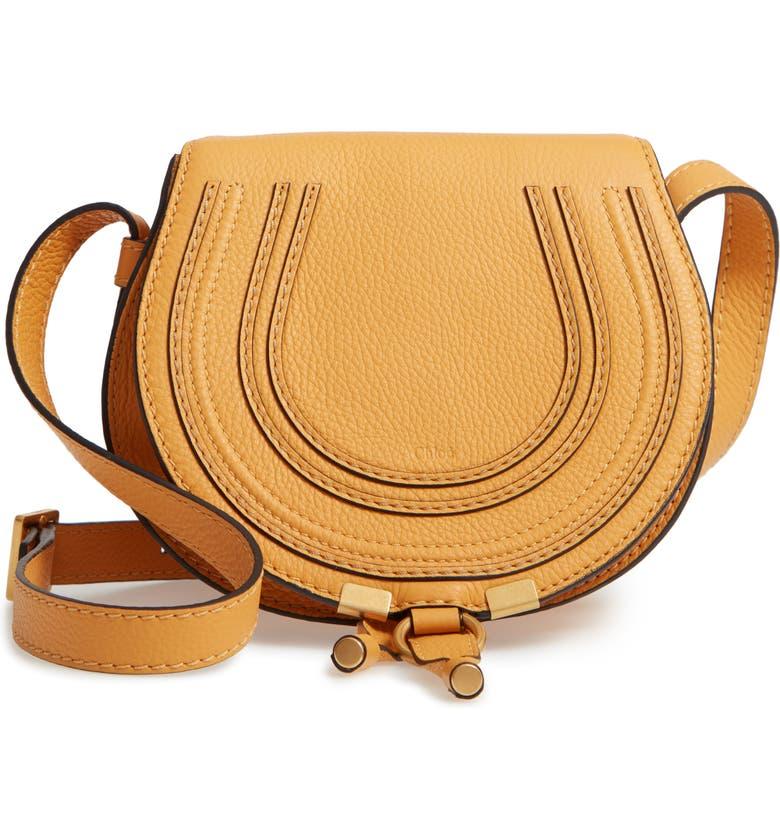 CHLOÉ  Mini Marcie  Leather Crossbody Bag, Main, color, BURNING CAMEL 3023bf2dc8