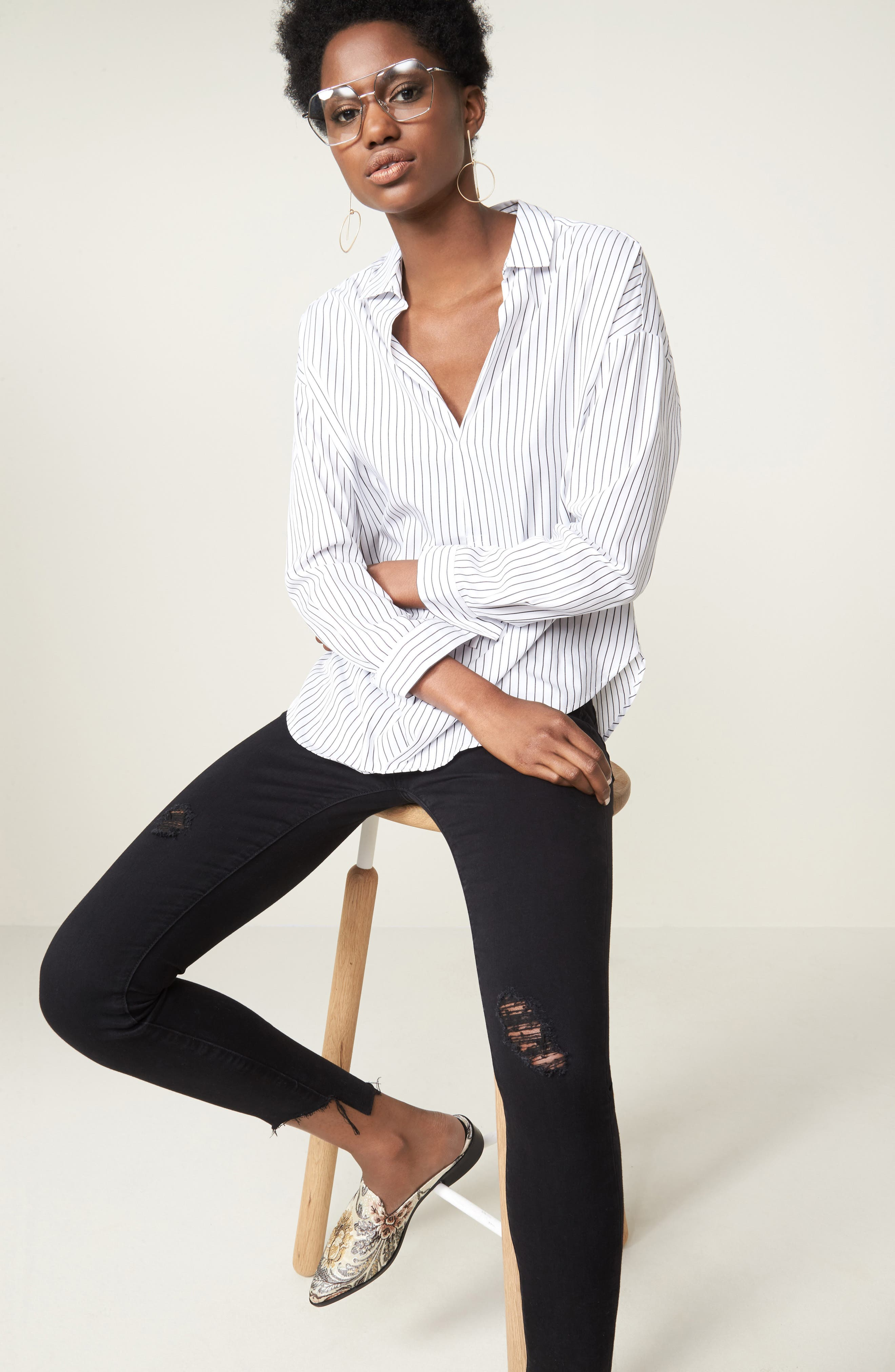 Stephanie Step Hem Skinny Jeans,                             Alternate thumbnail 7, color,