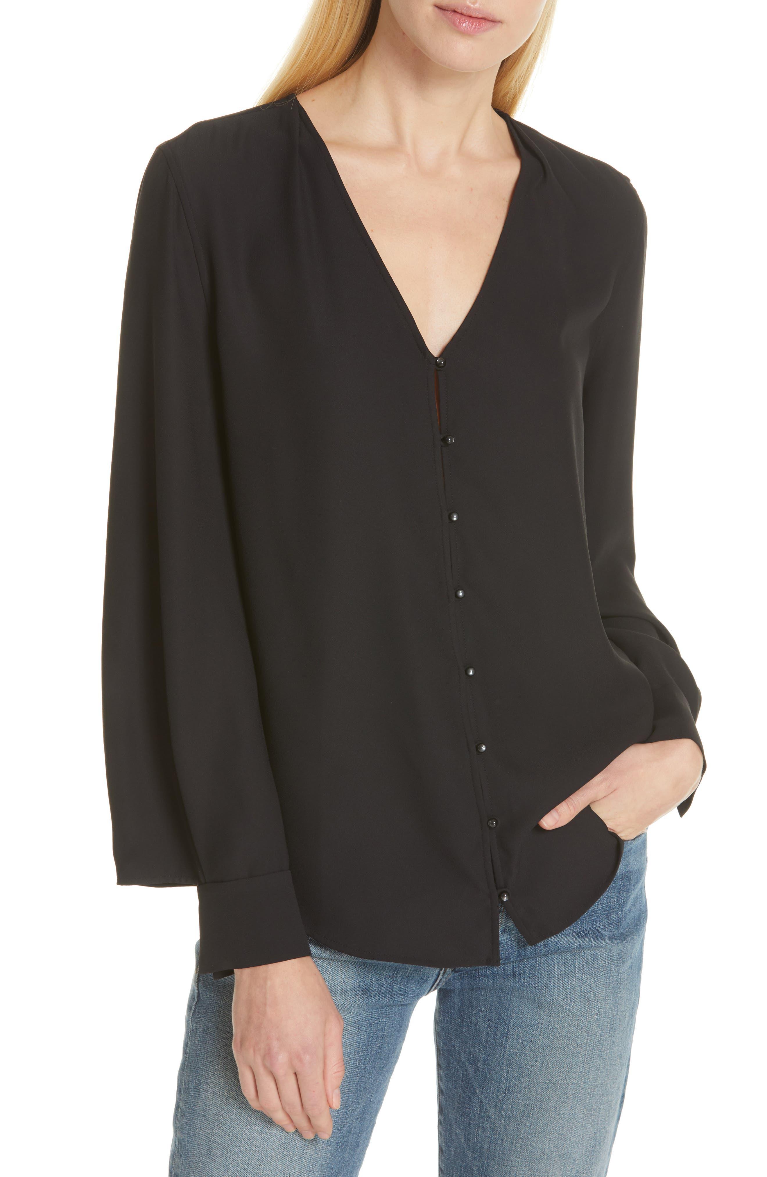 Haty Button Front Shirt,                             Alternate thumbnail 2, color,                             TRUE BLACK