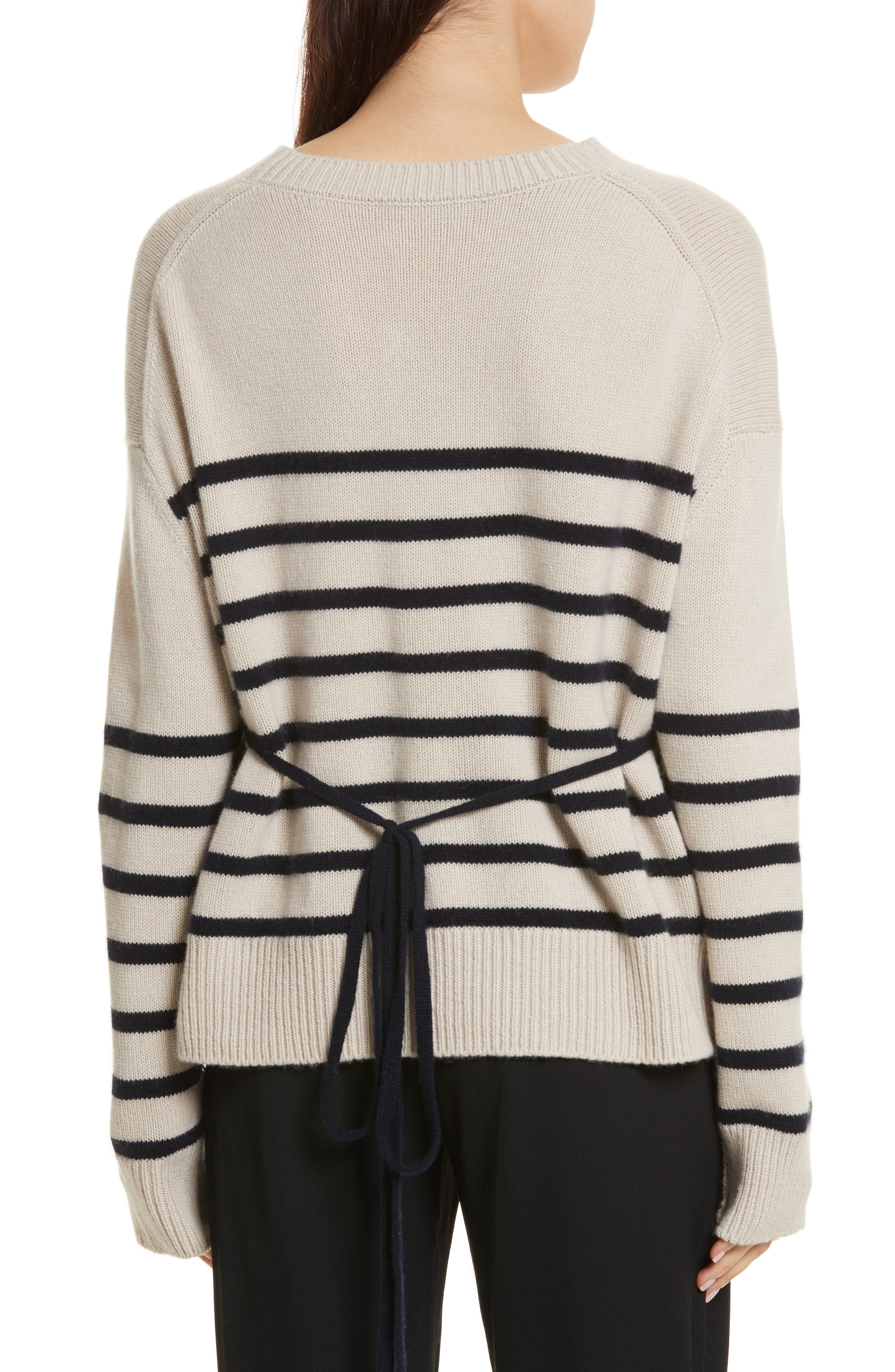 Cashmere Stripe Boxy Crew Sweater,                             Alternate thumbnail 4, color,