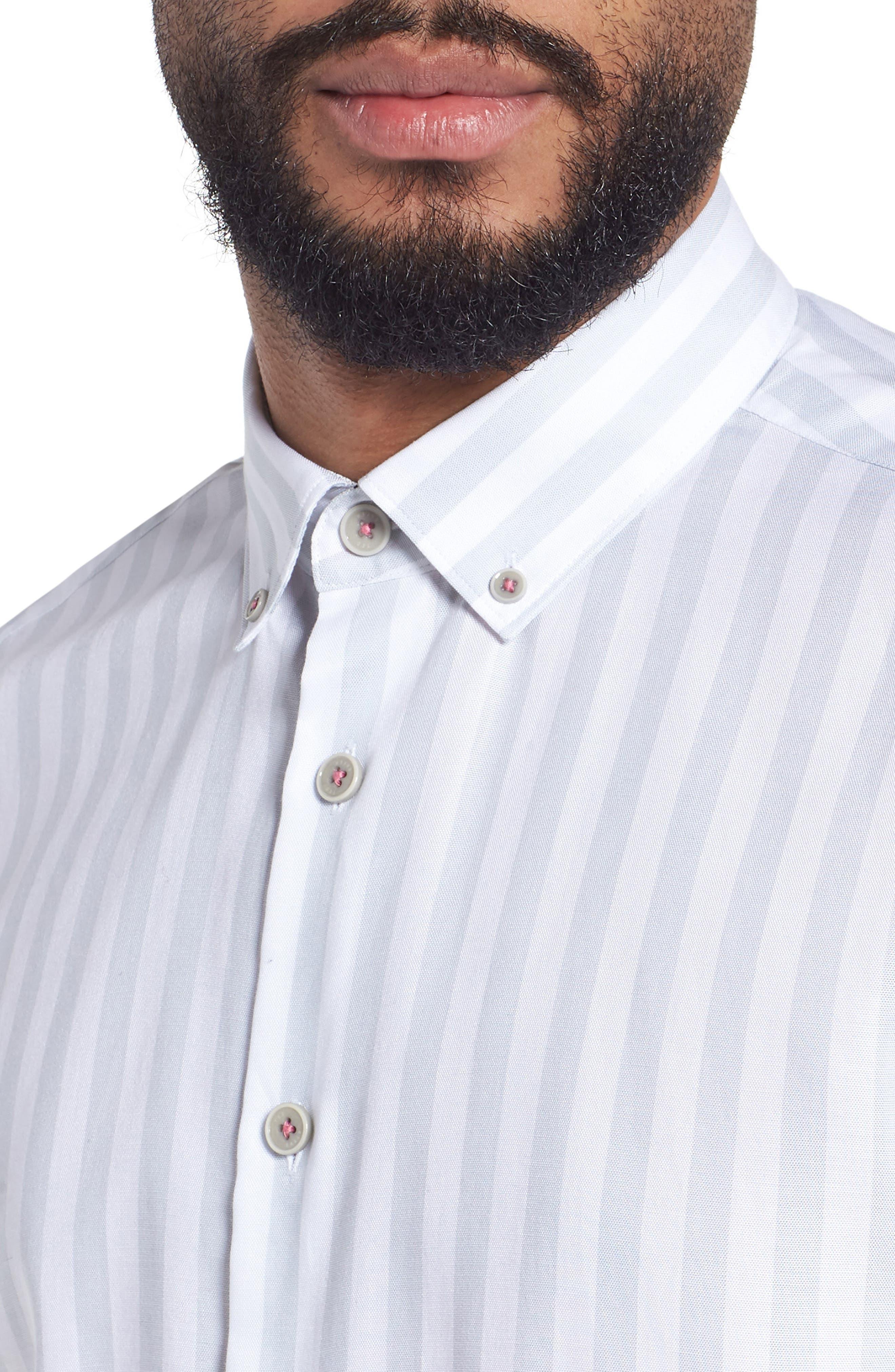 TED BAKER LONDON,                             Vertical Stripe Trim Fit Short Sleeve Sport Shirt,                             Alternate thumbnail 4, color,                             311