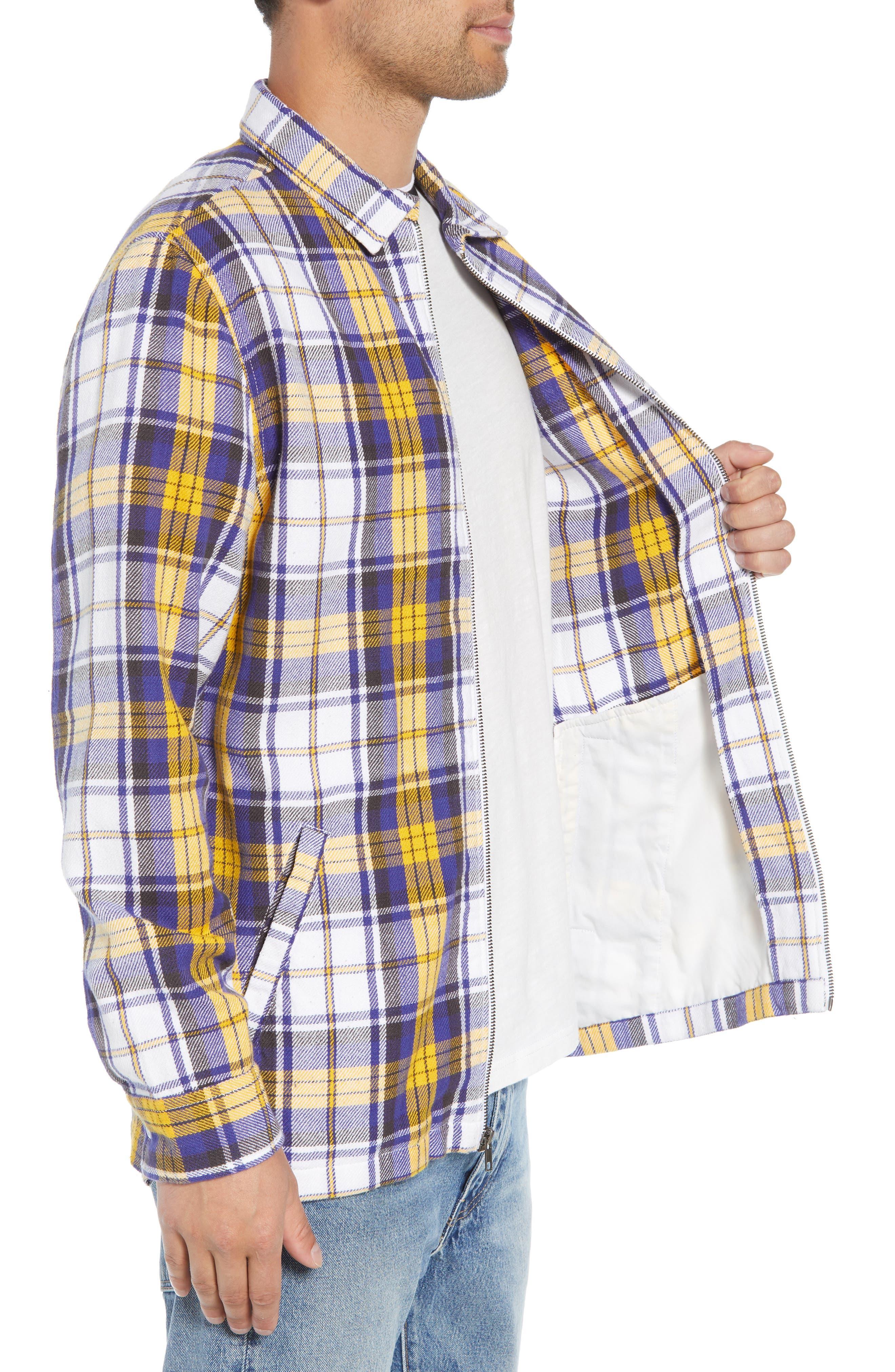 Zip Front Flannel Shirt Jacket,                             Alternate thumbnail 3, color,                             100