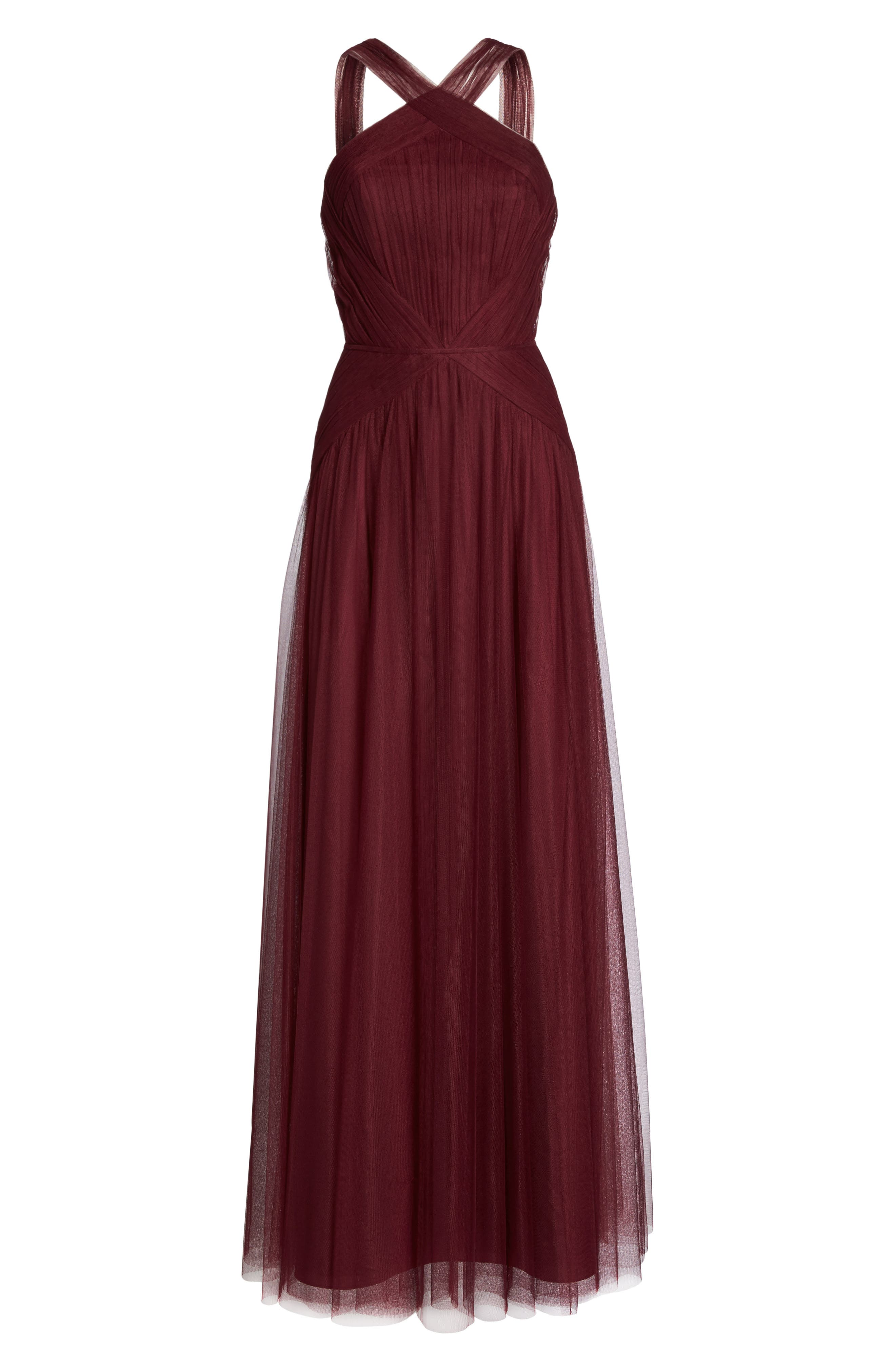 High Neck Pleated English Net Gown,                             Alternate thumbnail 6, color,                             930