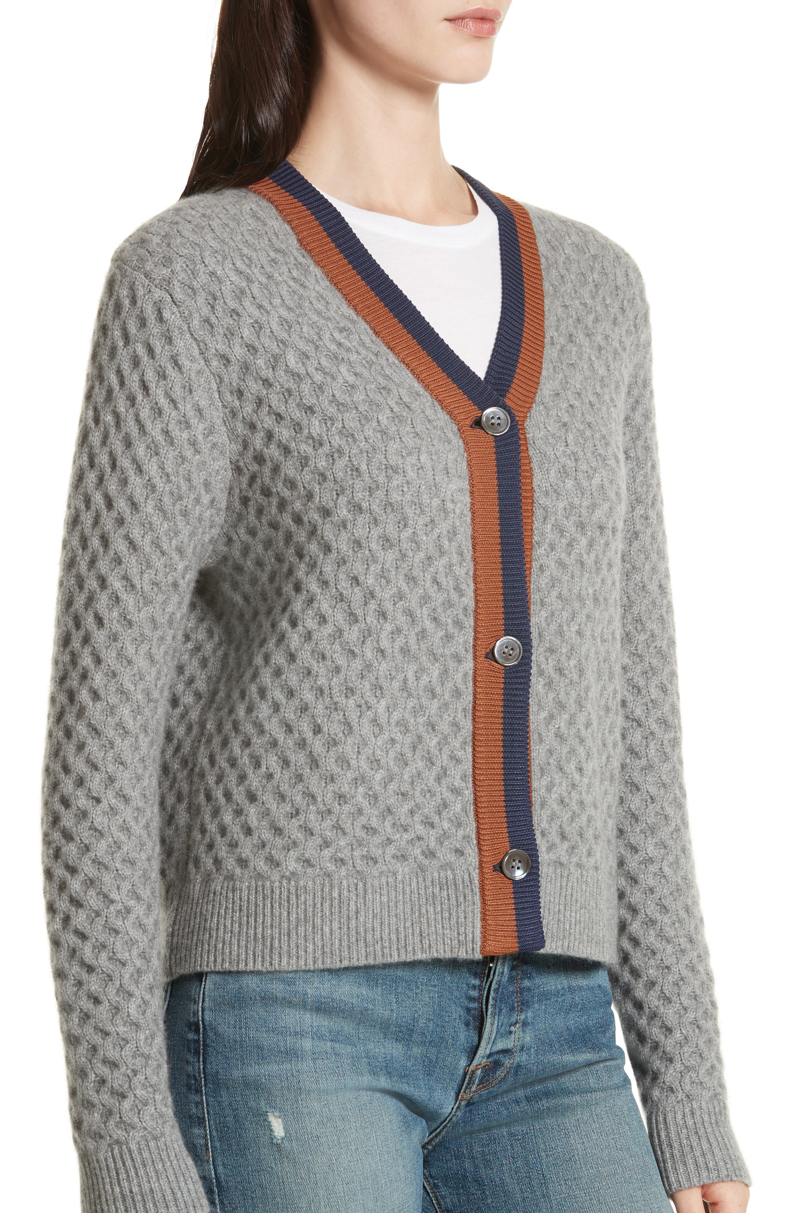 The Dylan Cashmere Cardigan,                             Alternate thumbnail 4, color,                             GREY/ VICUNA/ NAVY