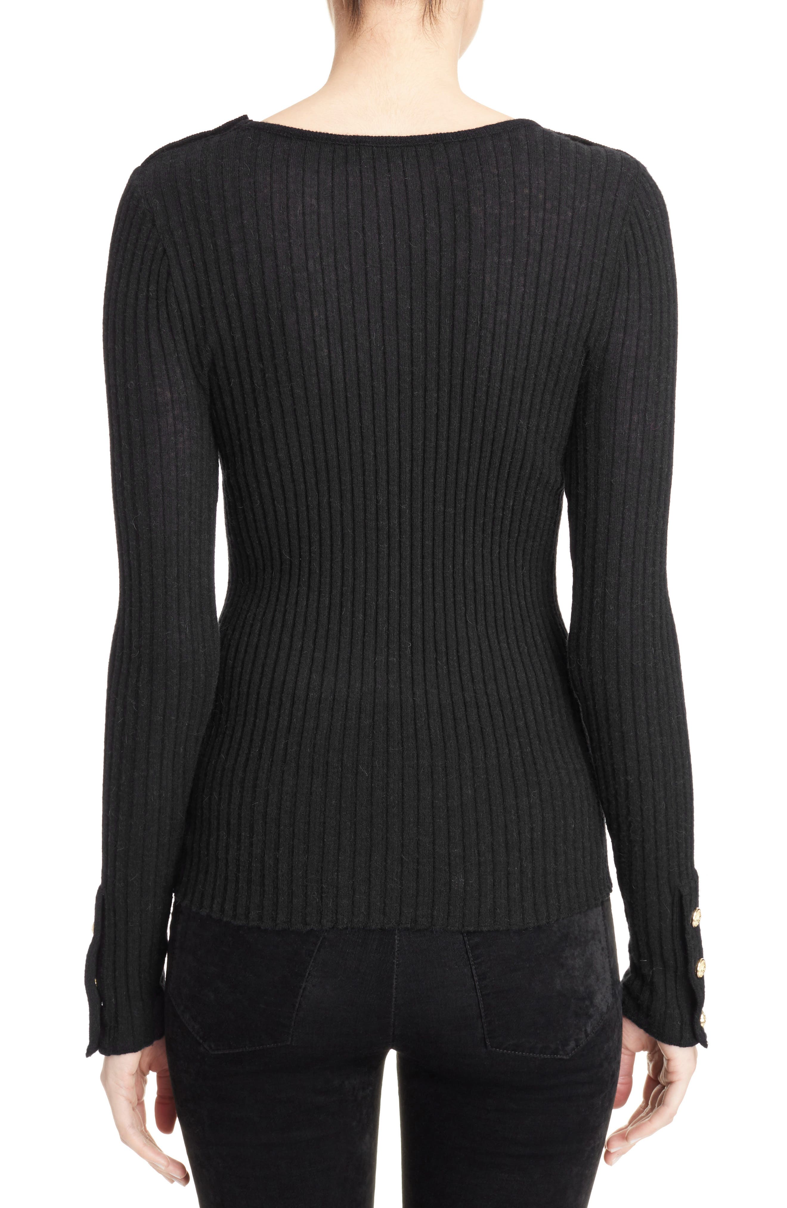 Button Detail Ribbed Sweater,                             Alternate thumbnail 2, color,                             BLACK