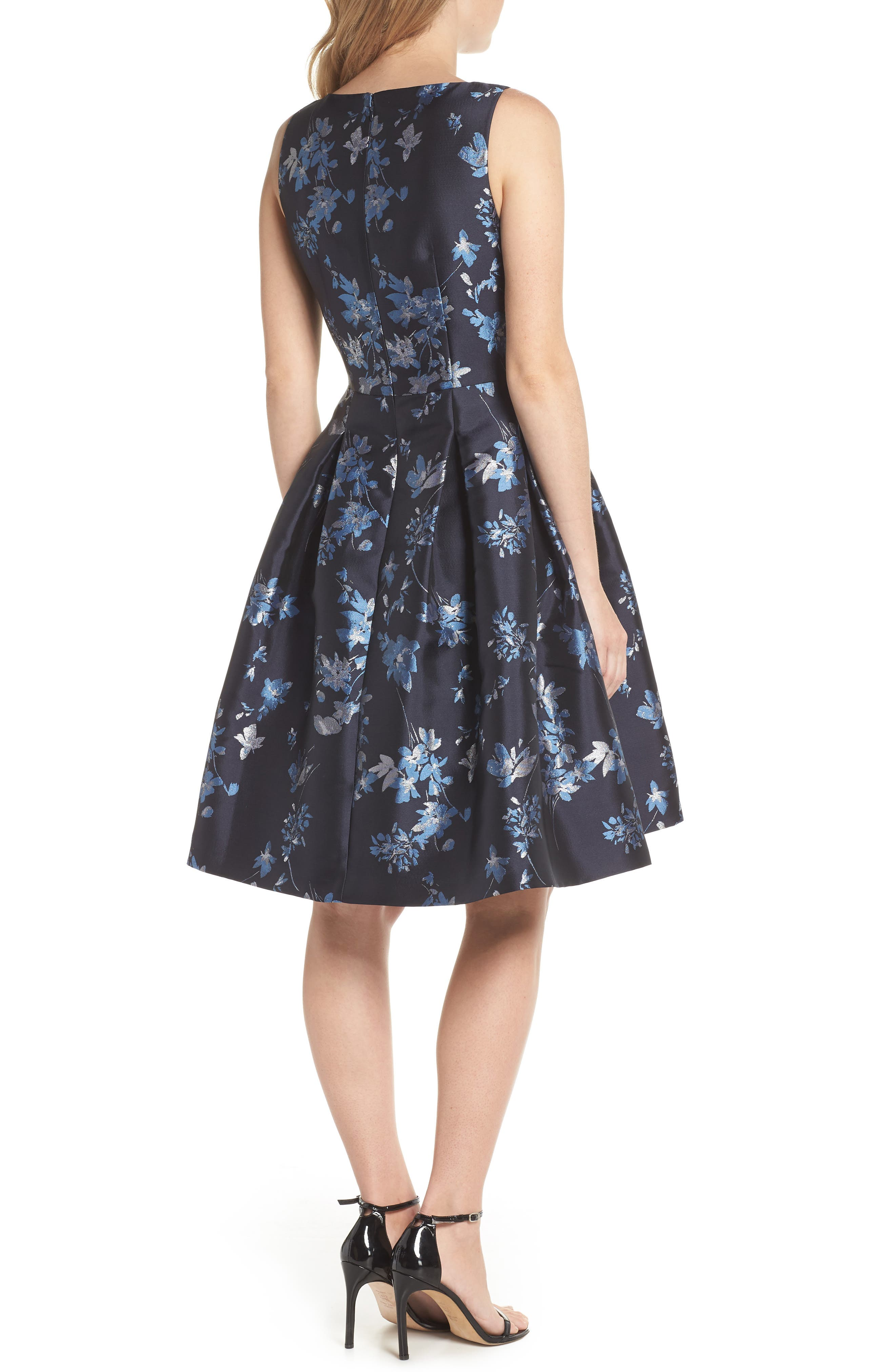 ELIZA J,                             V-Neck Fit & Flare Cocktail Dress,                             Alternate thumbnail 2, color,                             410