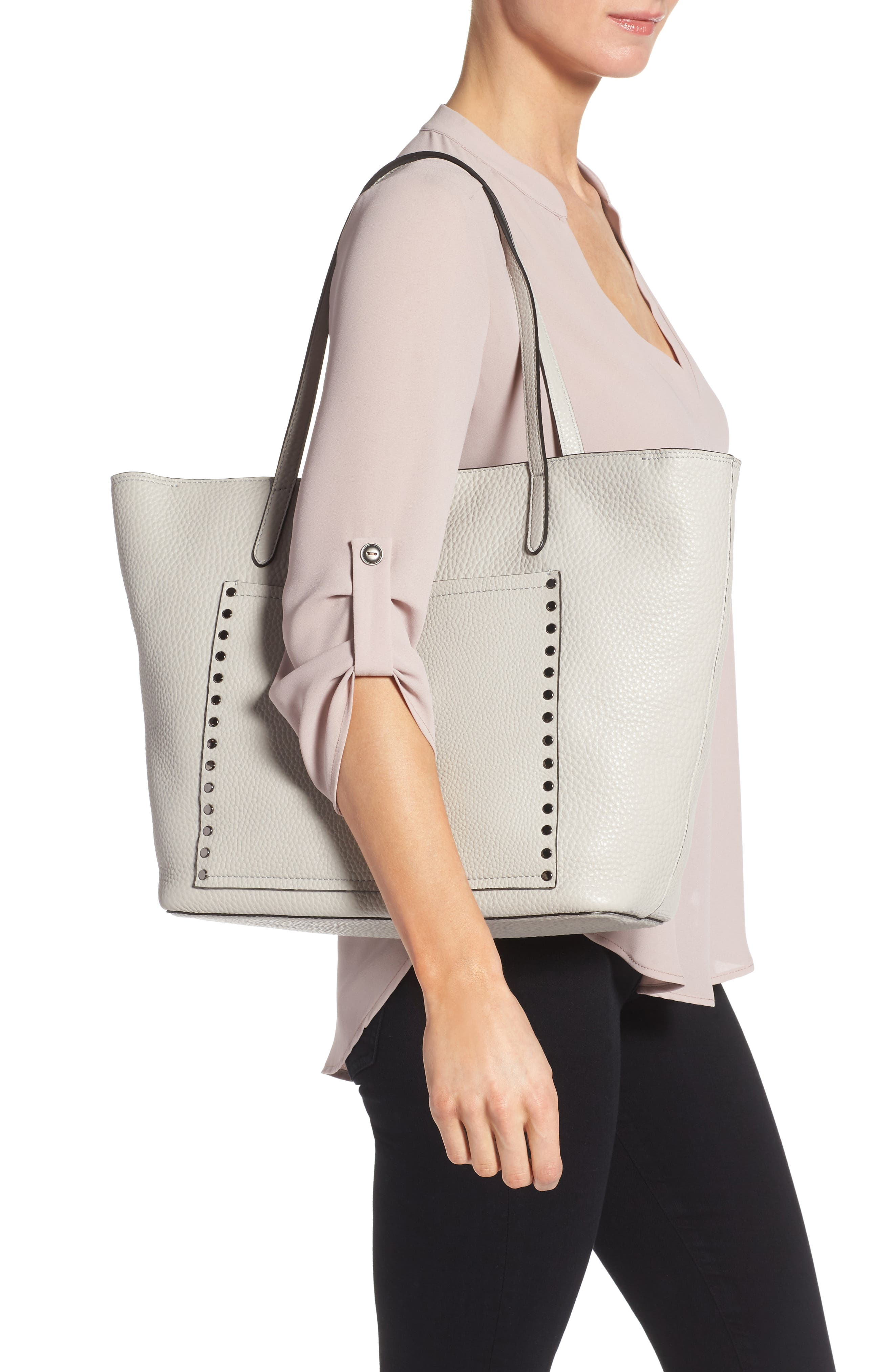 Unlined Front Pocket Leather Tote,                             Alternate thumbnail 2, color,                             001