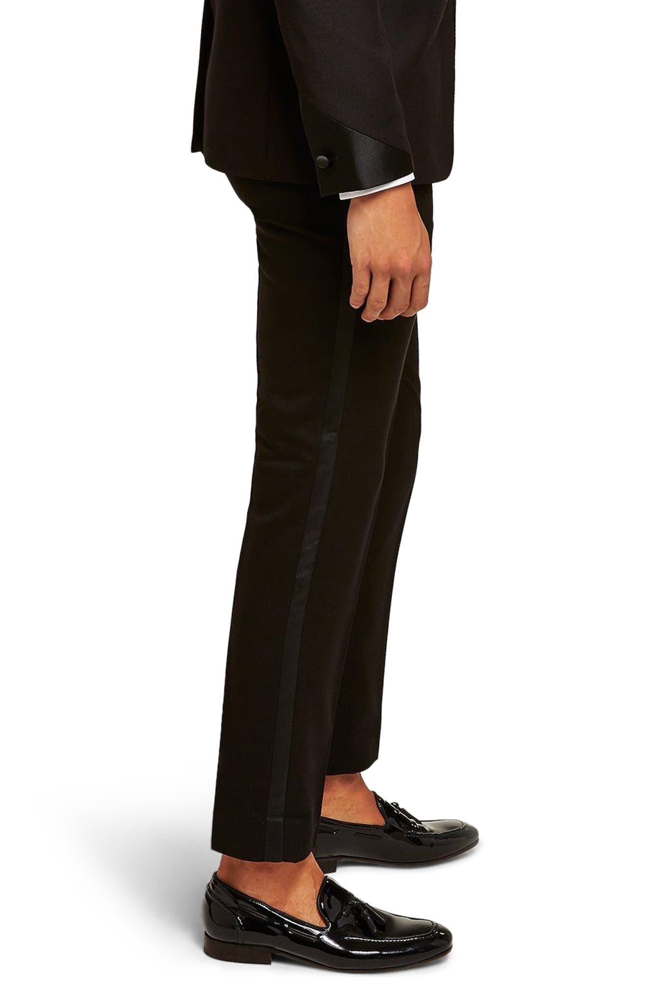 Satin Stripe Skinny Fit Suit Trousers,                             Alternate thumbnail 2, color,                             001