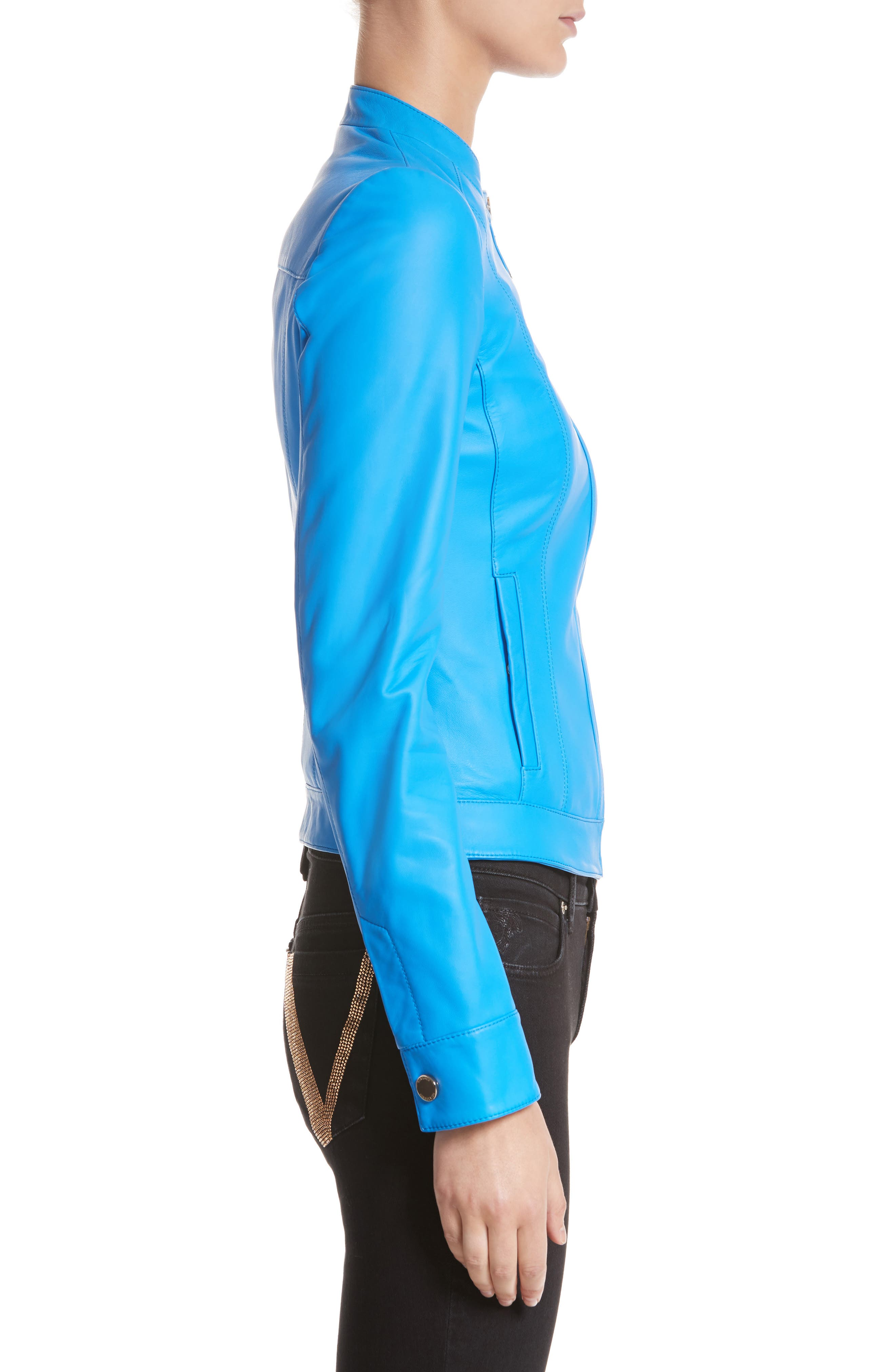 Nappa Leather Jacket,                             Alternate thumbnail 3, color,