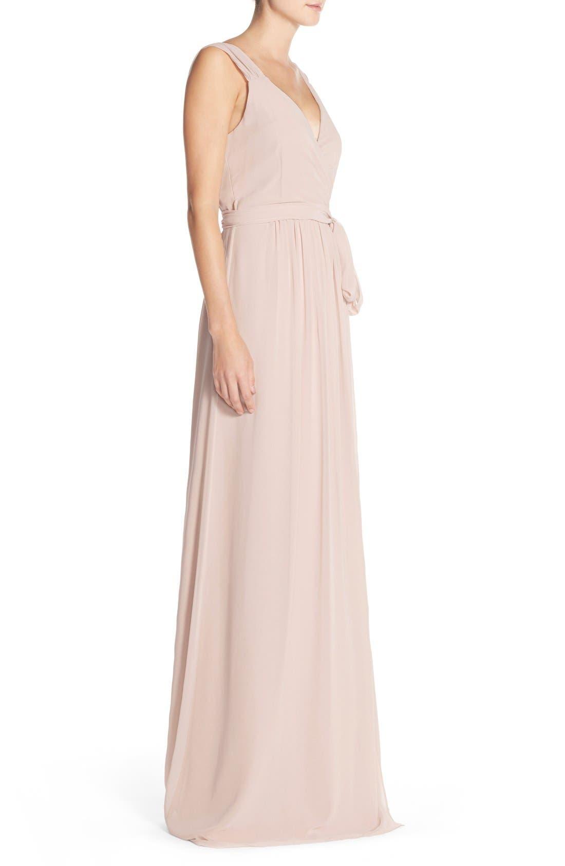 Newbury Gathered Sleeve Chiffon Wrap Gown,                             Alternate thumbnail 24, color,