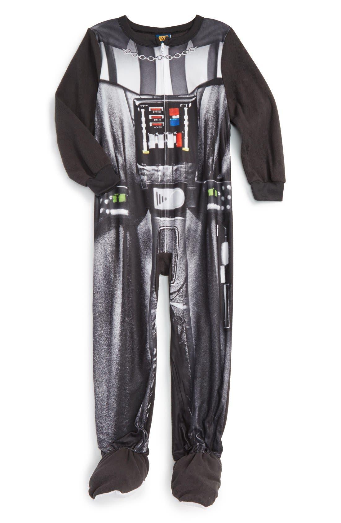 'Darth Vader' Footie Pajamas, Main, color, 001